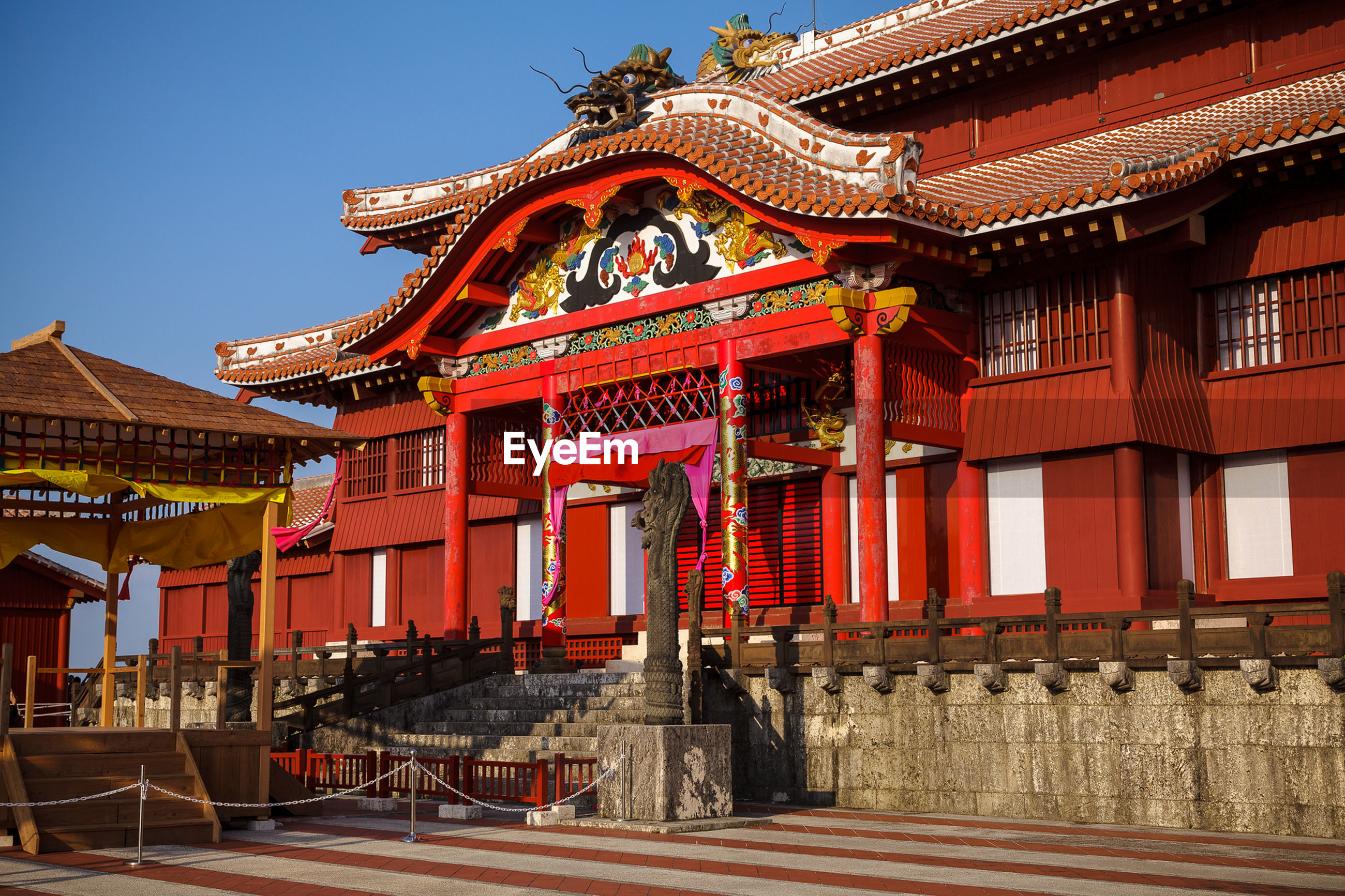 Red temple in city