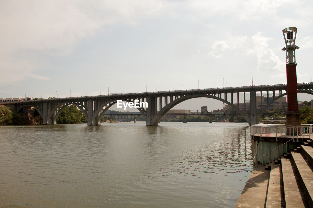 connection, bridge, built structure, water, architecture, sky, bridge - man made structure, transportation, cloud - sky, nature, arch, river, engineering, street light, arch bridge, waterfront, day, street, long, arched