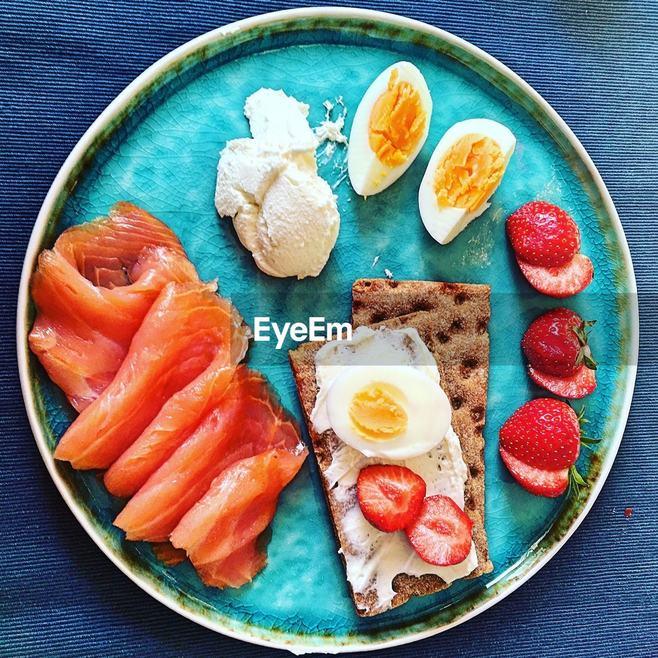 food, food and drink, healthy eating, freshness, wellbeing, indoors, plate, egg, ready-to-eat, fruit, still life, breakfast, no people, table, meal, directly above, high angle view, meat, salmon - seafood, seafood, fried egg, fried, japanese food