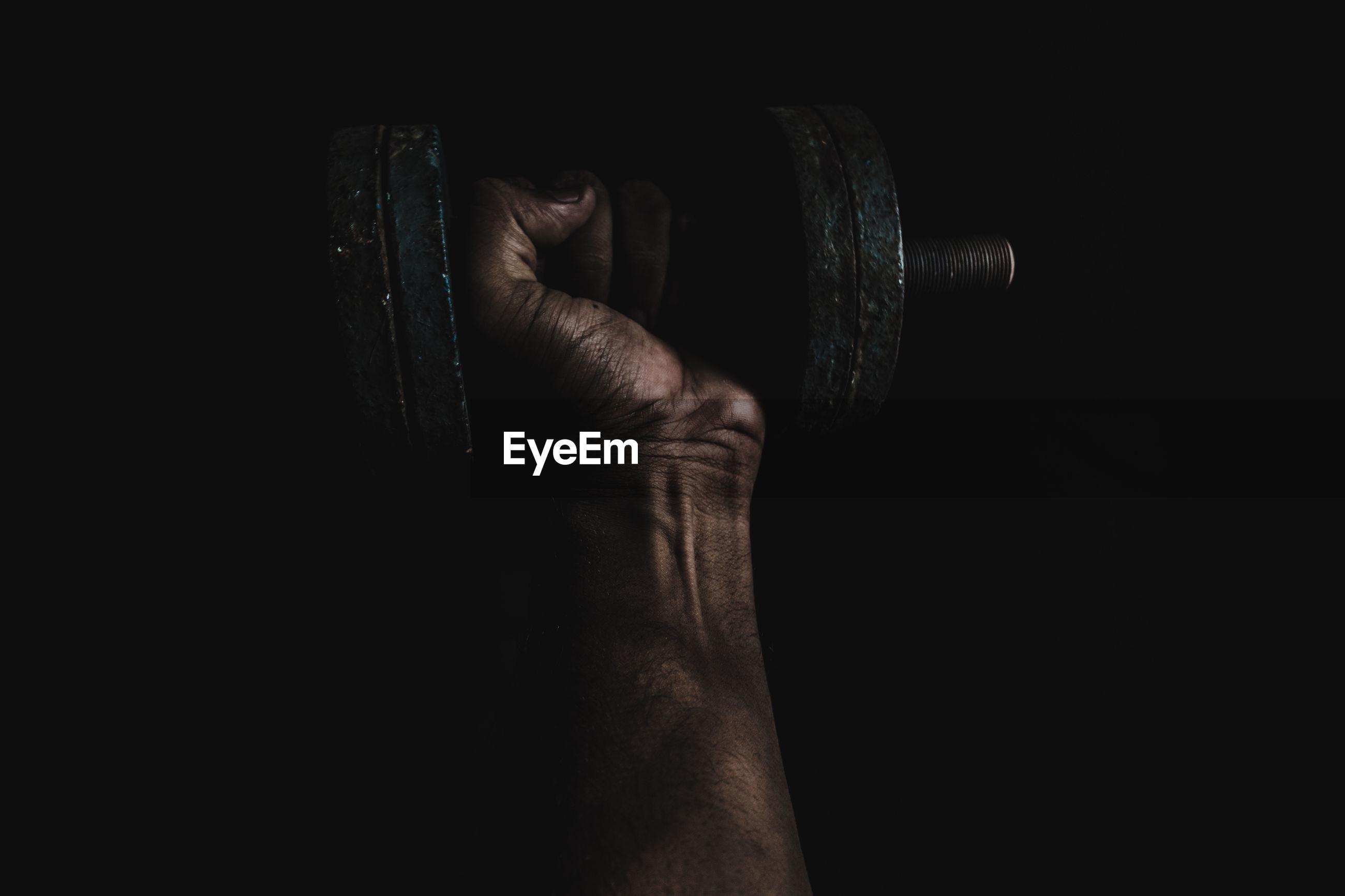 Close-up of man exercising