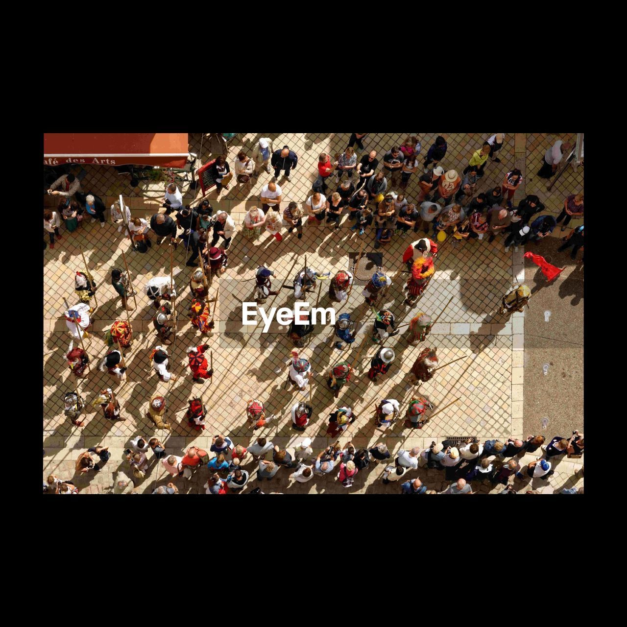 Directly Above View Of Parade In City Street