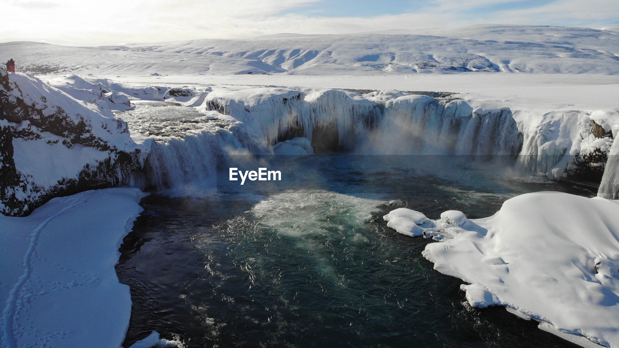 Godafoss waterfall in winter time
