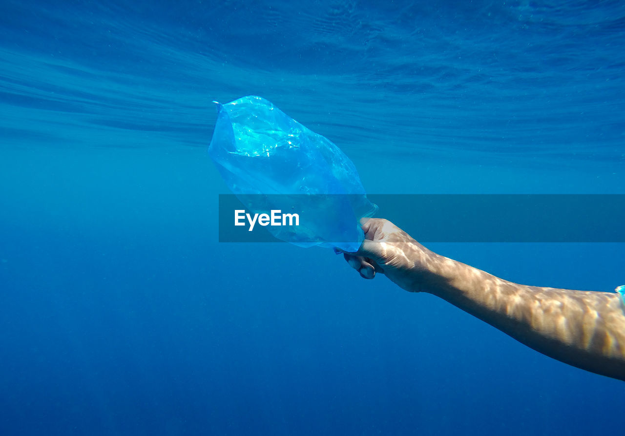 Cropped Hand Holding Plastic Bag In Sea