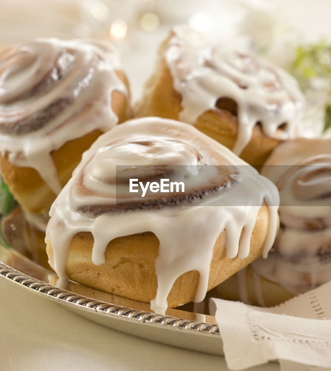 Close-Up Of Iced Cinnamon Buns