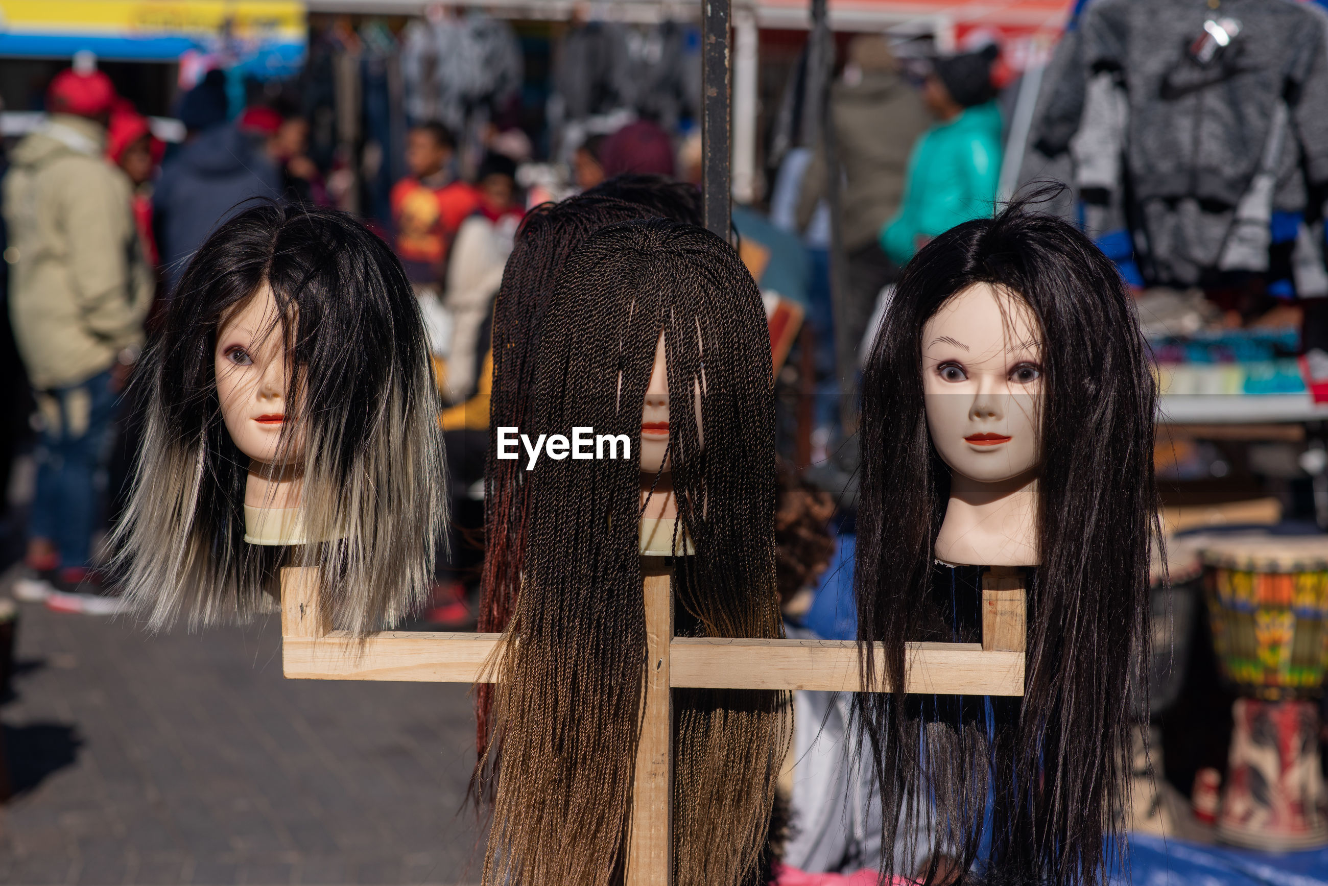 Mannequins for sale at market in city