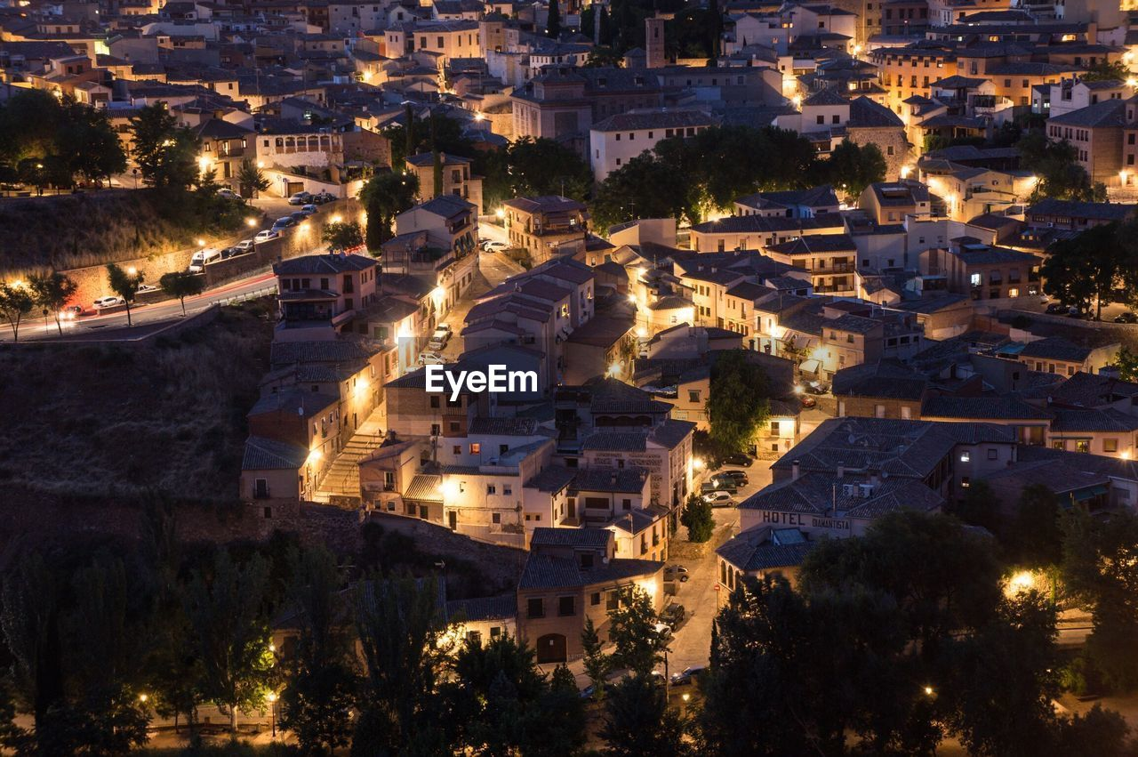 High Angle View Of Houses In Town At Night