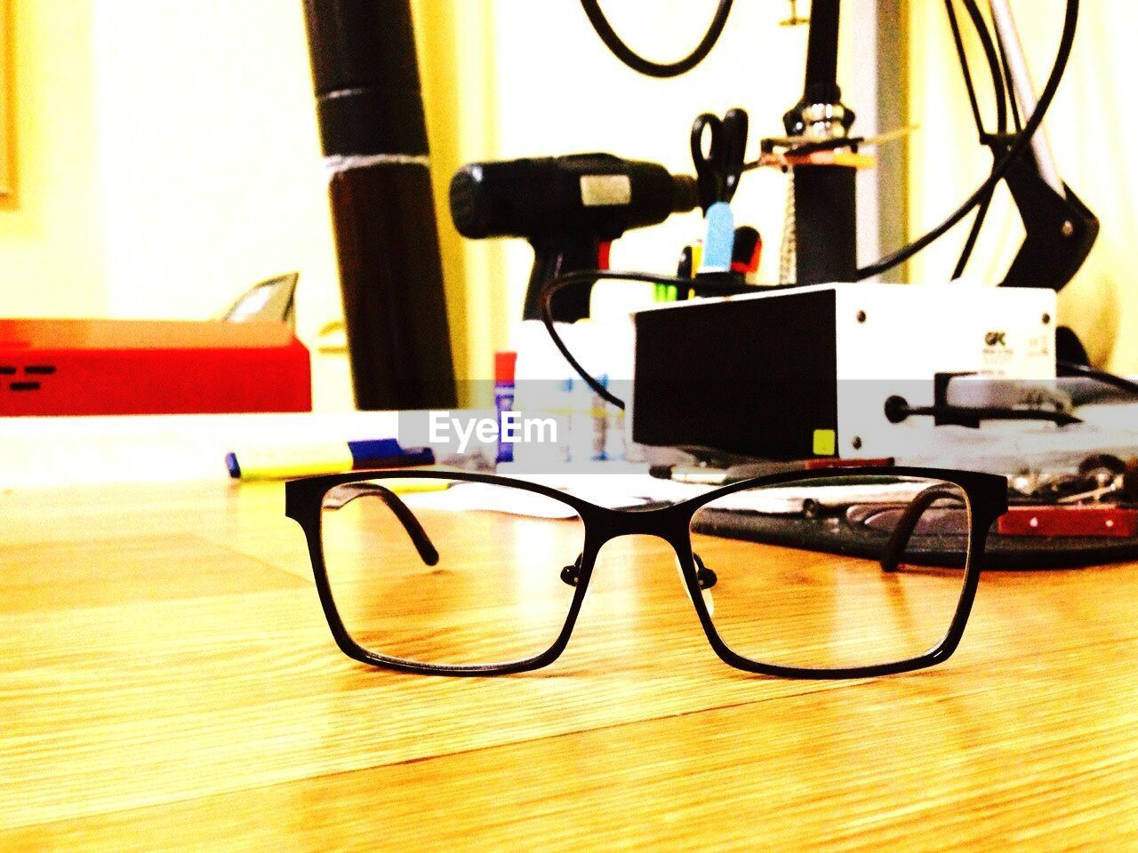 indoors, table, no people, eyeglasses, technology, close-up, day