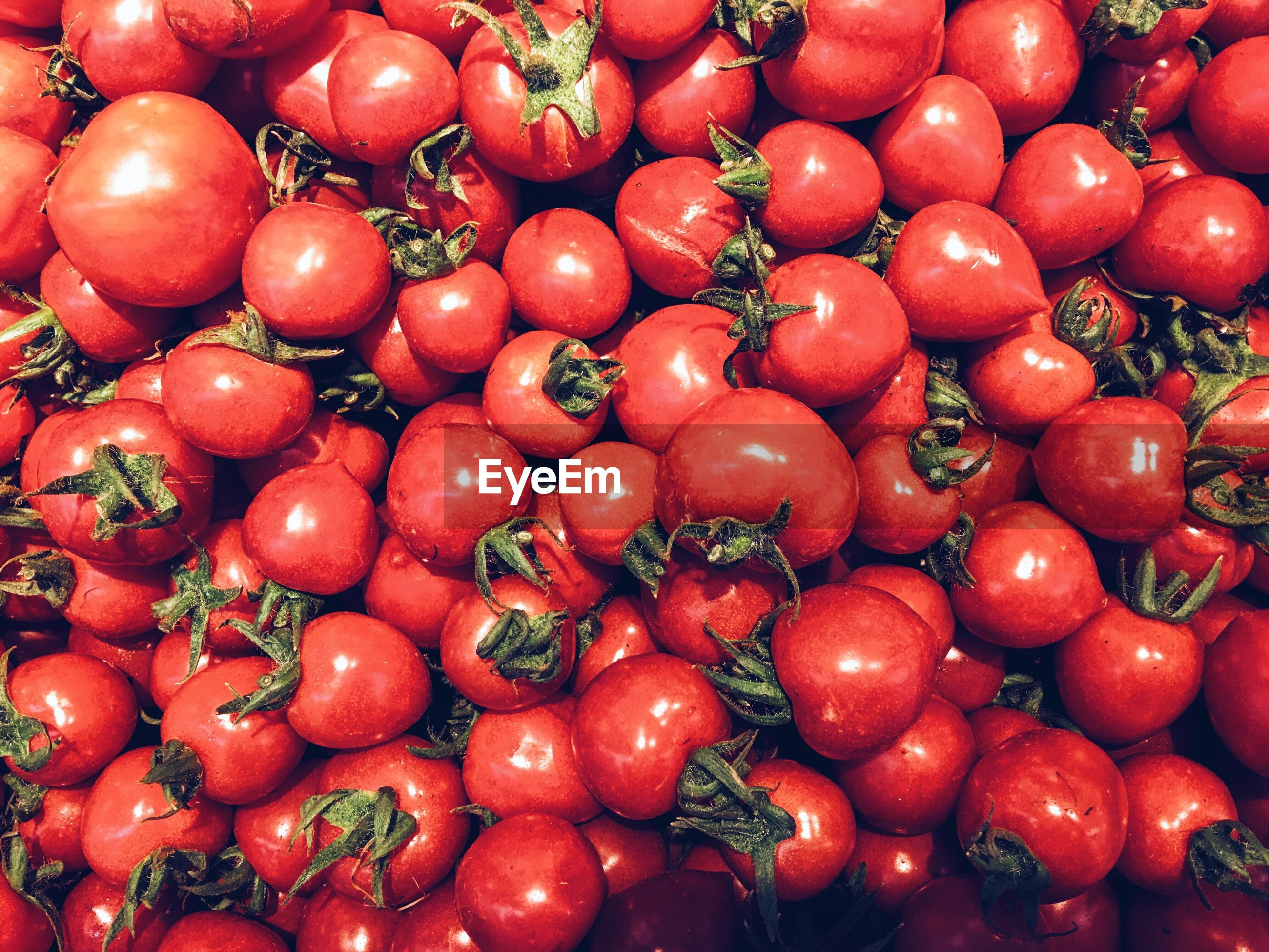 red, food and drink, food, healthy eating, full frame, freshness, abundance, backgrounds, large group of objects, fruit, market, for sale, market stall, retail, high angle view, close-up, still life, tomato, vegetable, no people