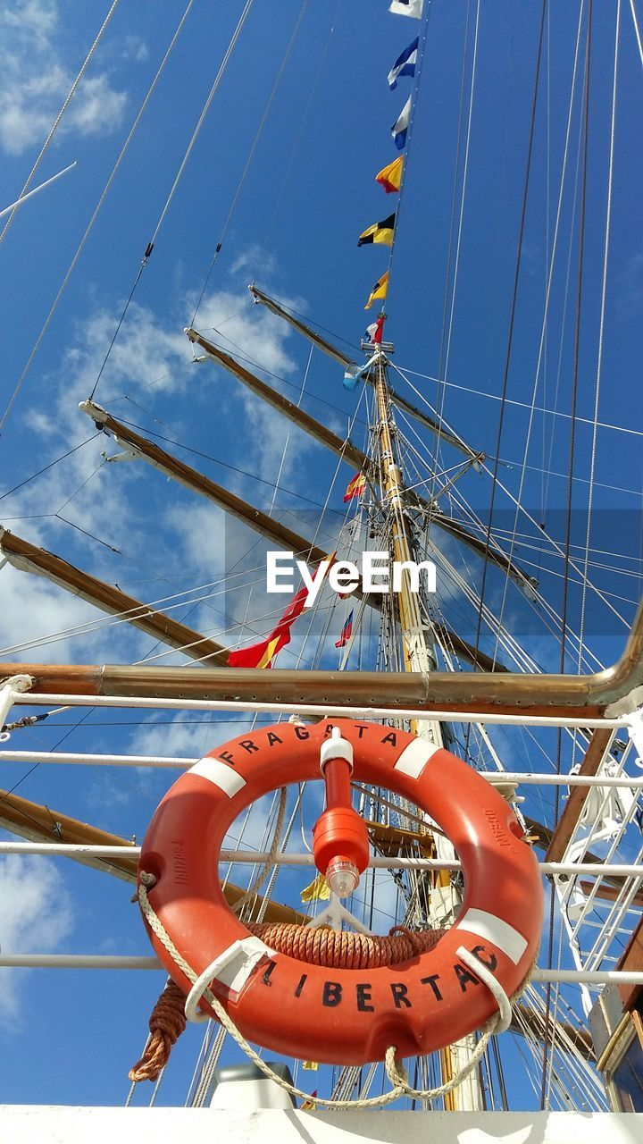 day, sky, outdoors, low angle view, blue, no people, nautical vessel, transportation, mast, nature