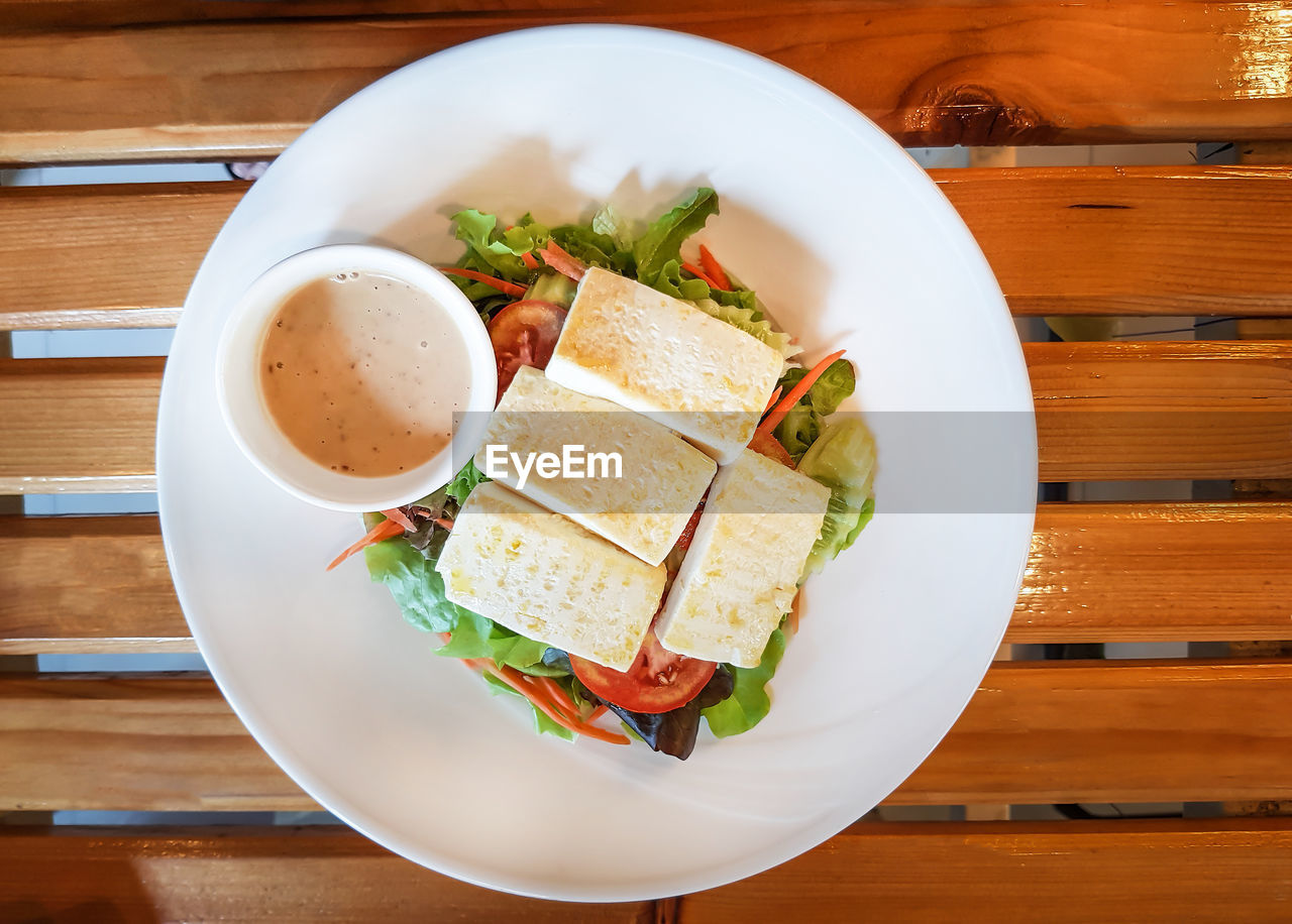 food and drink, table, food, freshness, ready-to-eat, wood - material, healthy eating, still life, indoors, wellbeing, serving size, bowl, plate, directly above, high angle view, meal, no people, vegetable, bread, close-up, japanese food, crockery