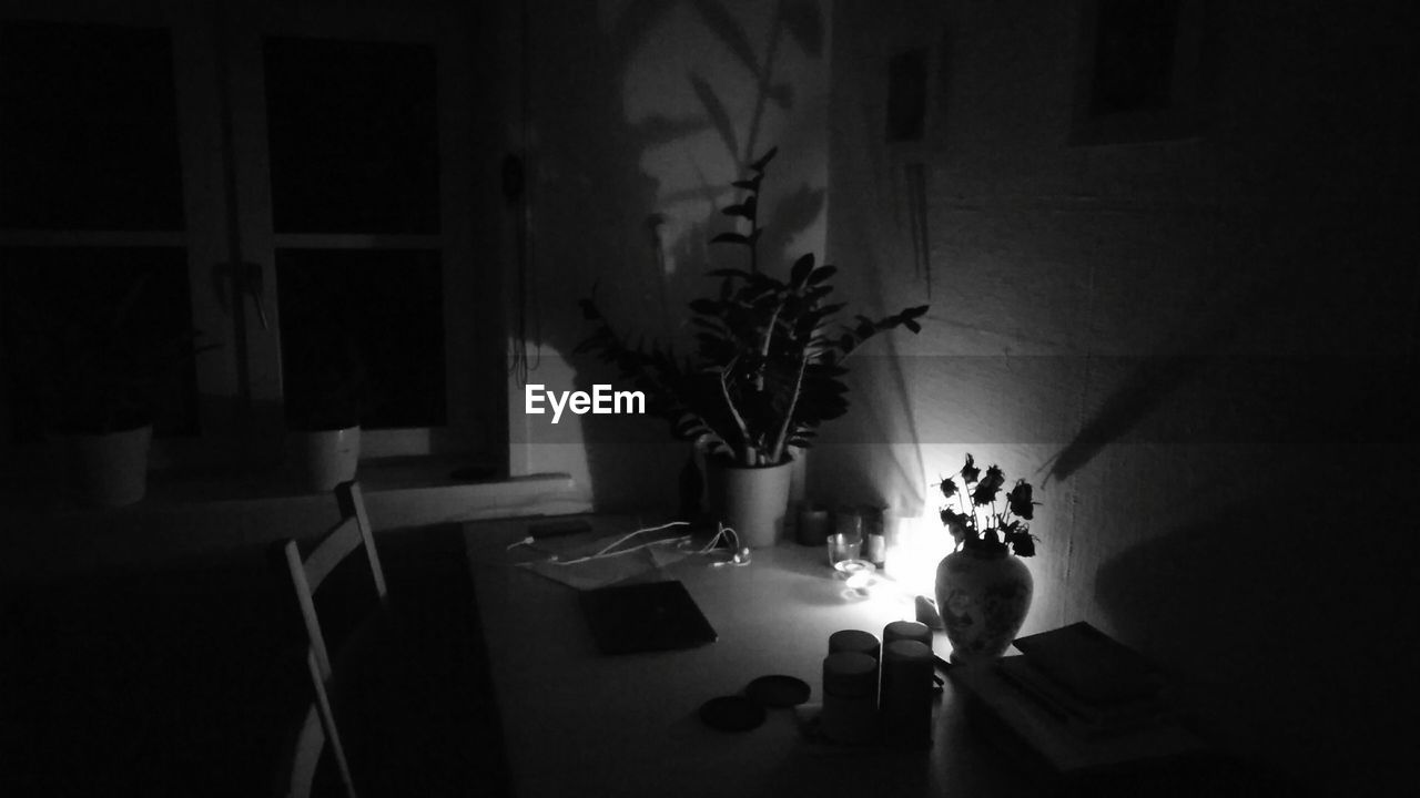 indoors, real people, table, illuminated, lifestyles, women, one person, flower, night, people