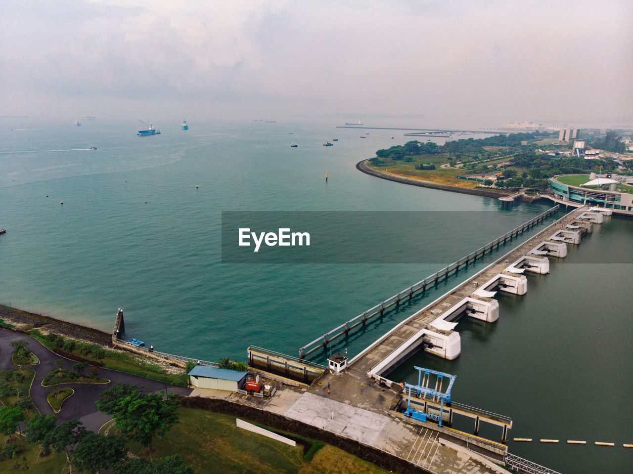 water, transportation, high angle view, sea, nautical vessel, sky, mode of transportation, nature, day, architecture, built structure, no people, travel, outdoors, scenics - nature, building exterior, aerial view, horizon, beauty in nature