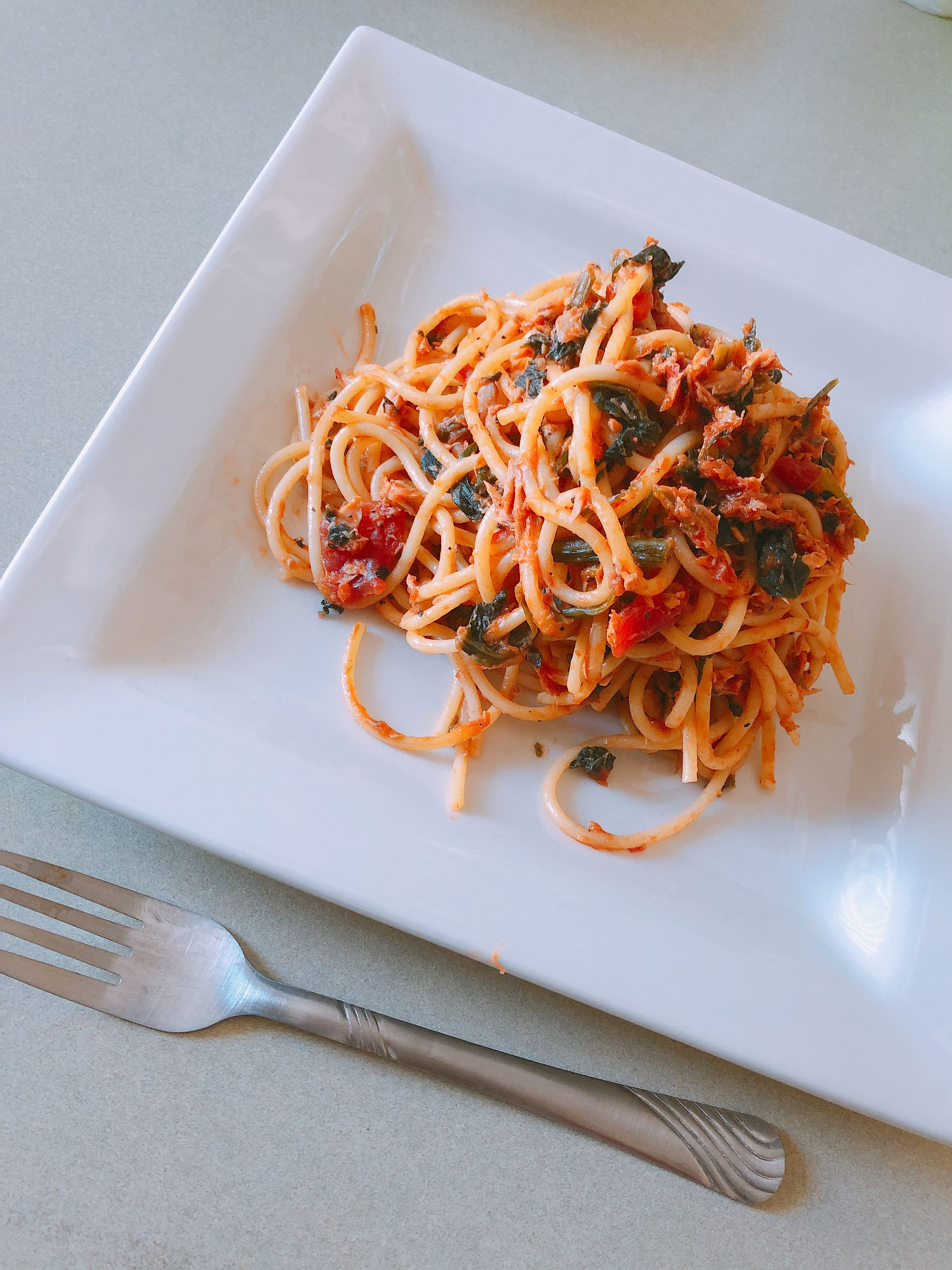 High angle view of spaghetti in plate