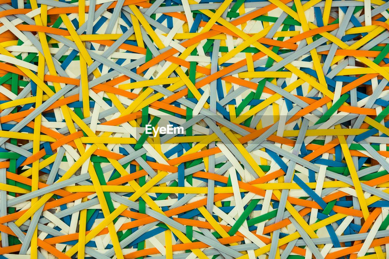 Full frame shot of multi colored rubber band ball