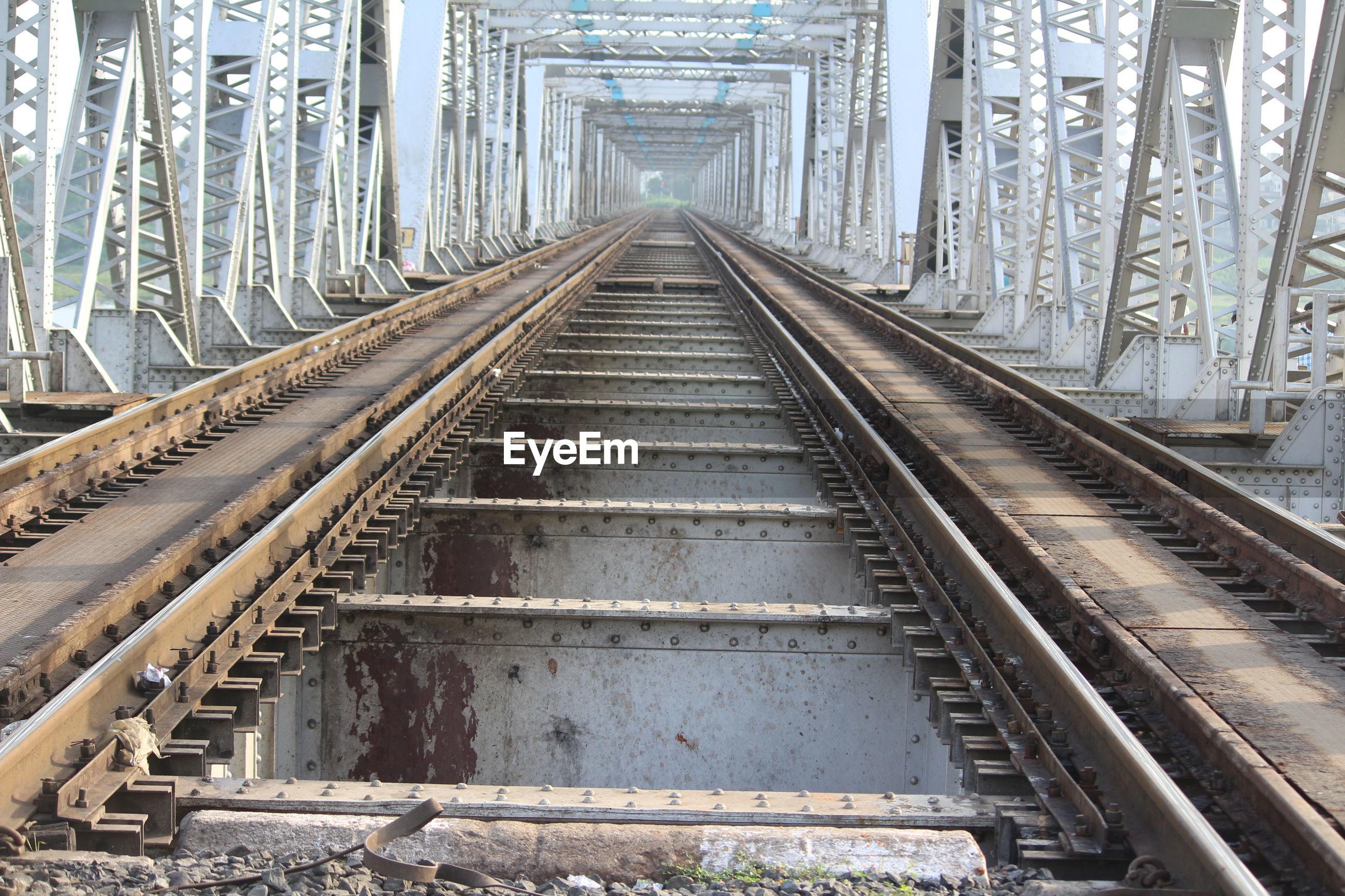 RAILROAD TRACKS ALONG BRIDGE