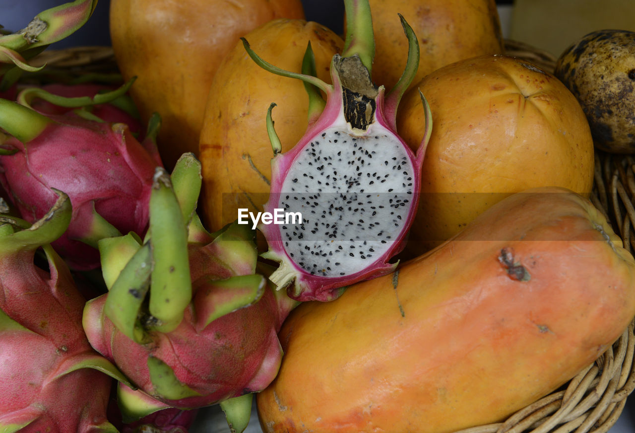 High Angle View Of Various Fruits In Basket