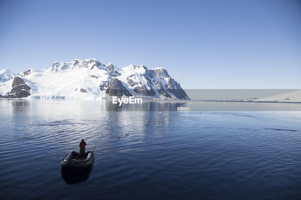 Man on boat in the antarctic