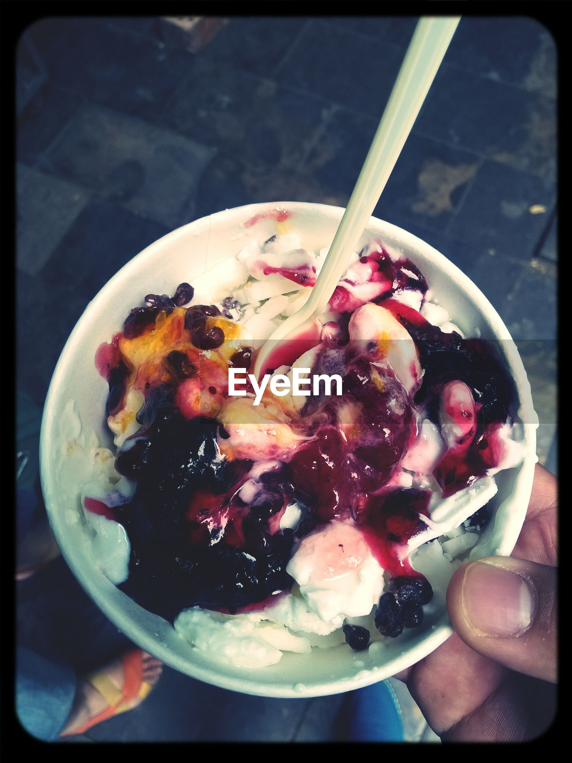 food and drink, food, freshness, ready-to-eat, person, healthy eating, indoors, holding, bowl, plate, part of, fruit, indulgence, close-up, cropped, spoon, transfer print