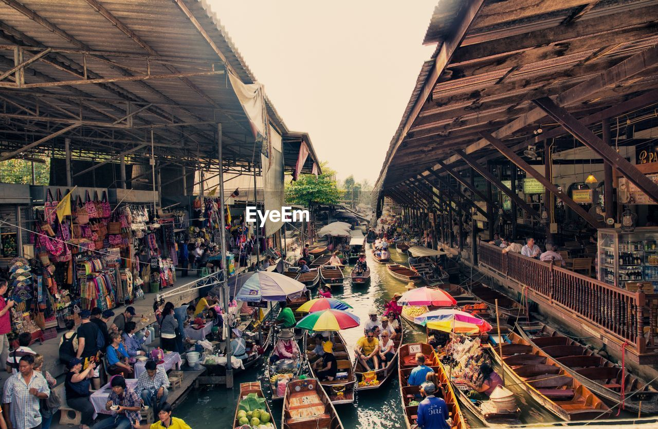 View of people at floating market