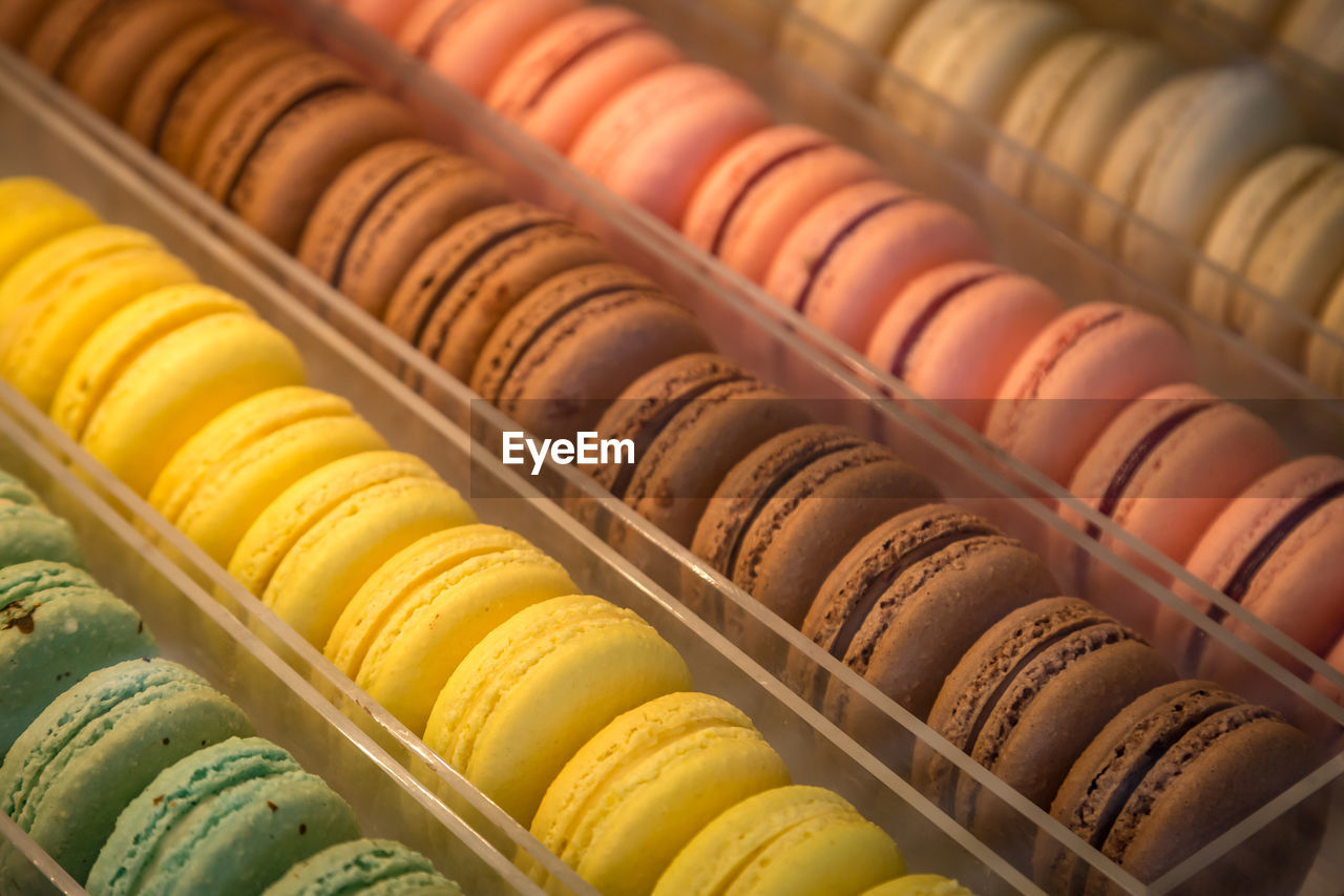 macaroon, sweet food, multi colored, food, food and drink, no people, still life, in a row, indulgence, choice, variation, ready-to-eat, freshness, arrangement, indoors, large group of objects, sweet, temptation, unhealthy eating, dessert, order, retail display, snack