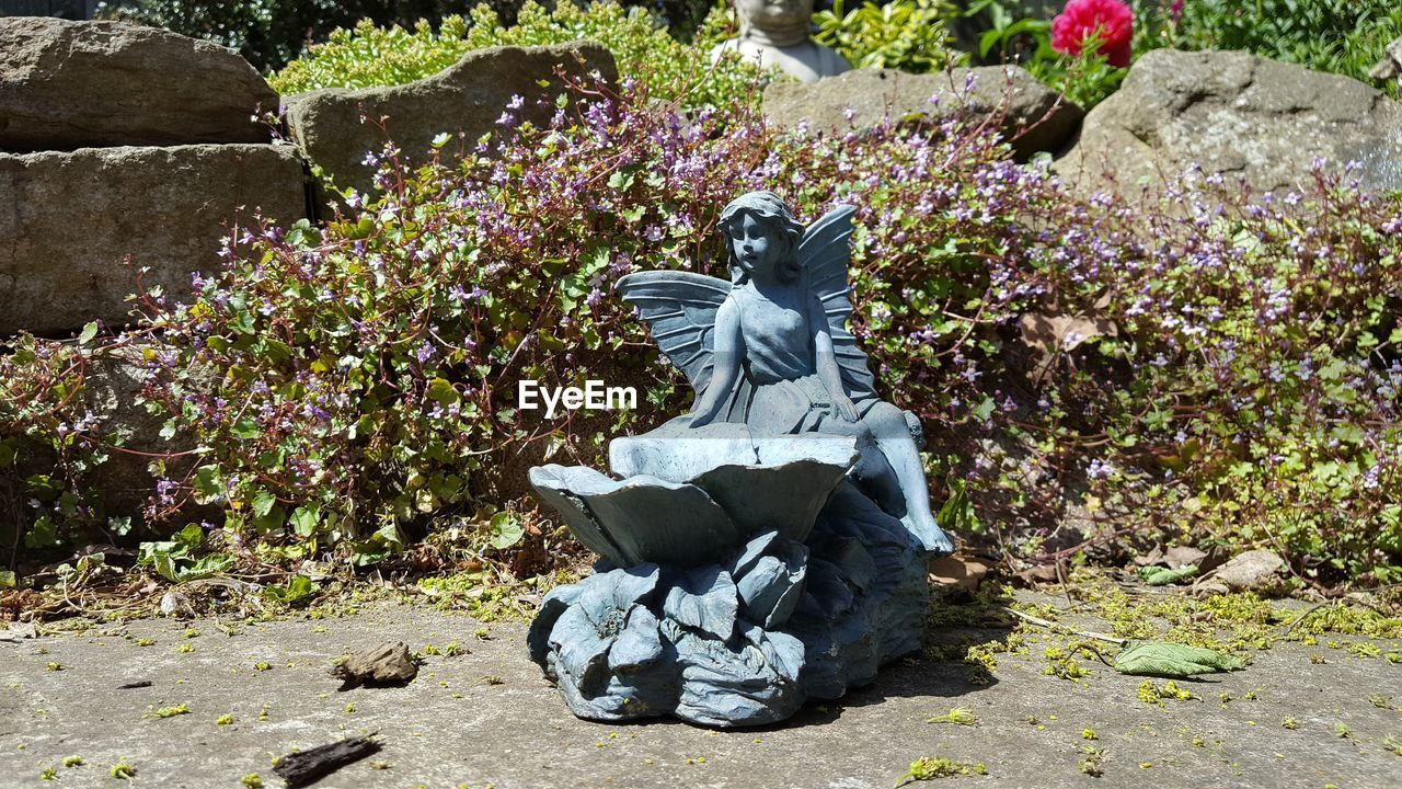 day, outdoors, nature, plant, sitting, growth, flower, one person, statue, beauty in nature, young adult, people