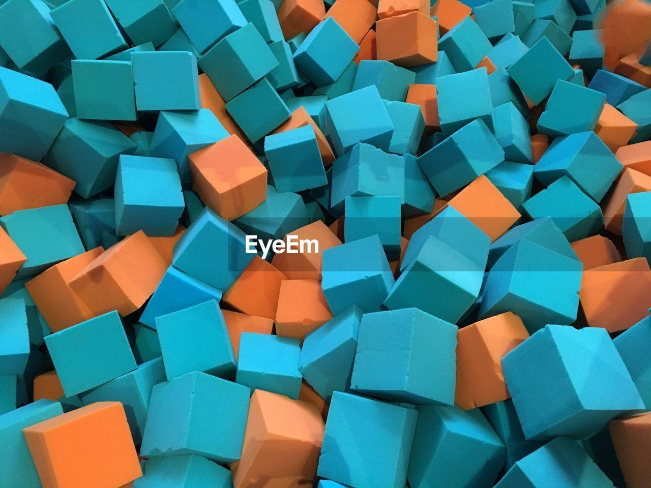 Full Frame Shot Of Cube Shape Sponges