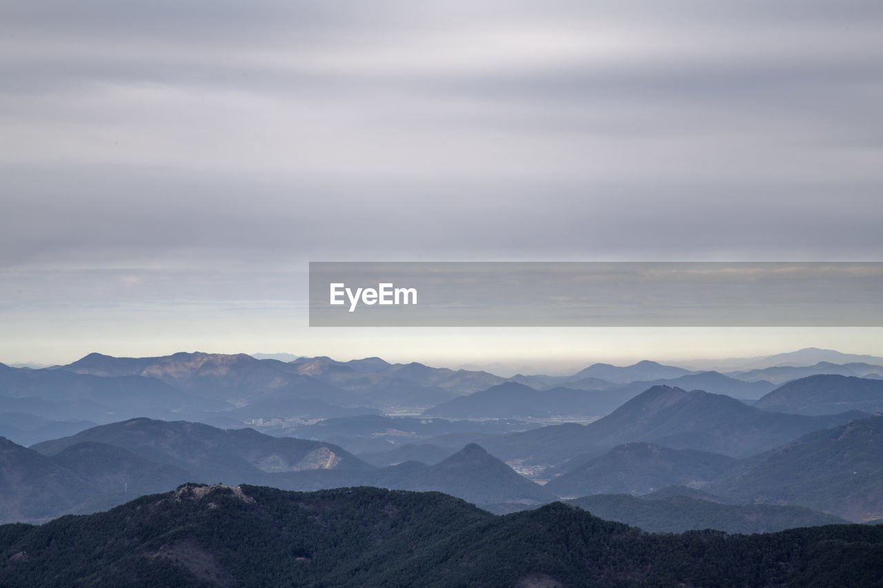 mountain, scenics - nature, beauty in nature, tranquil scene, mountain range, sky, cloud - sky, tranquility, environment, non-urban scene, idyllic, nature, landscape, no people, remote, sunset, majestic, outdoors, fog, mountain peak