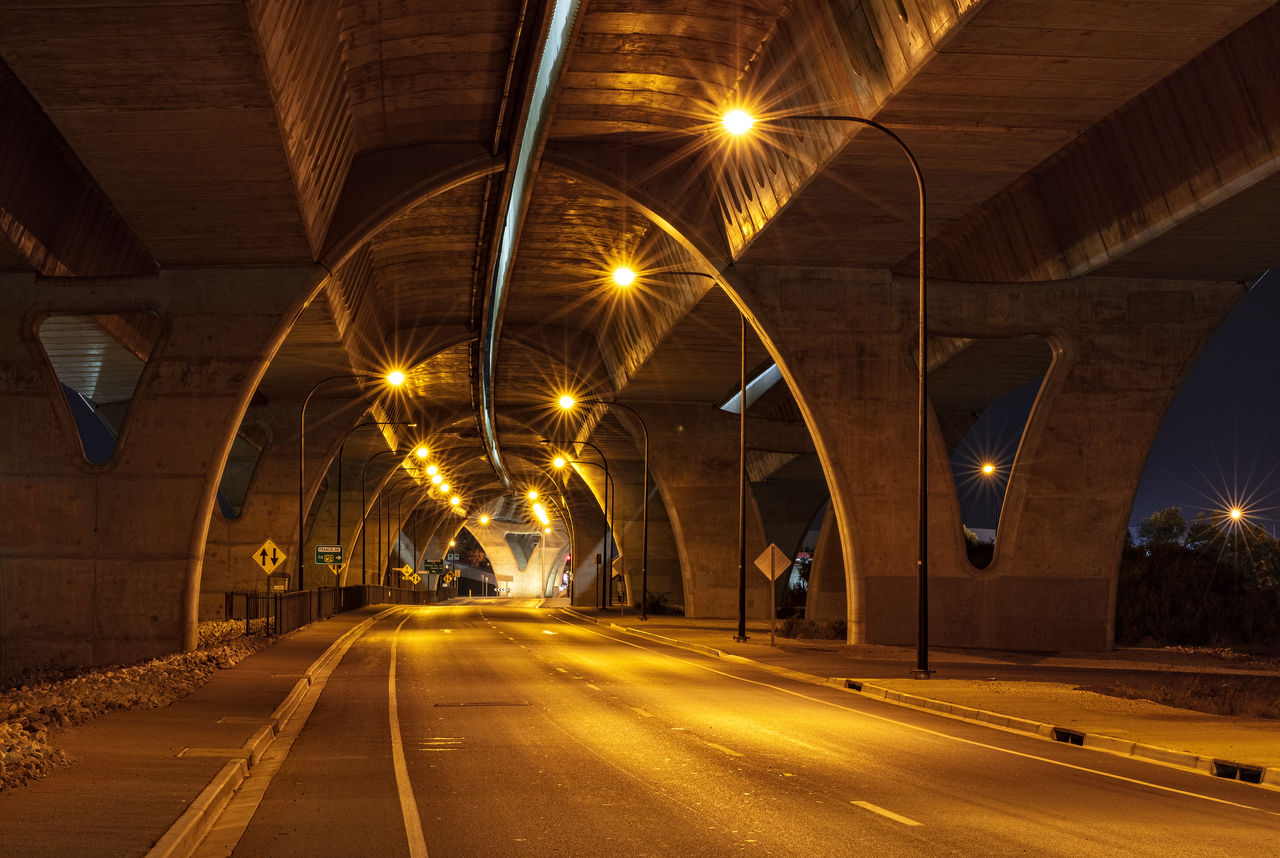 illuminated, road, transportation, street light, lighting equipment, night, architecture, street, direction, no people, city, the way forward, long exposure, bridge, motion, light trail, built structure, connection, bridge - man made structure, diminishing perspective, lens flare, light