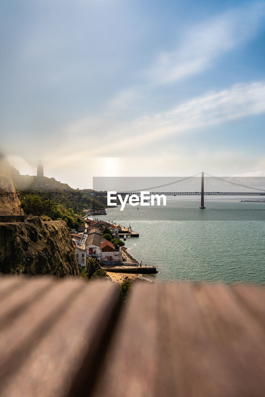 water, sky, bridge, cloud - sky, bridge - man made structure, transportation, sea, built structure, nature, connection, architecture, no people, beauty in nature, scenics - nature, suspension bridge, outdoors, day, tranquil scene, bay