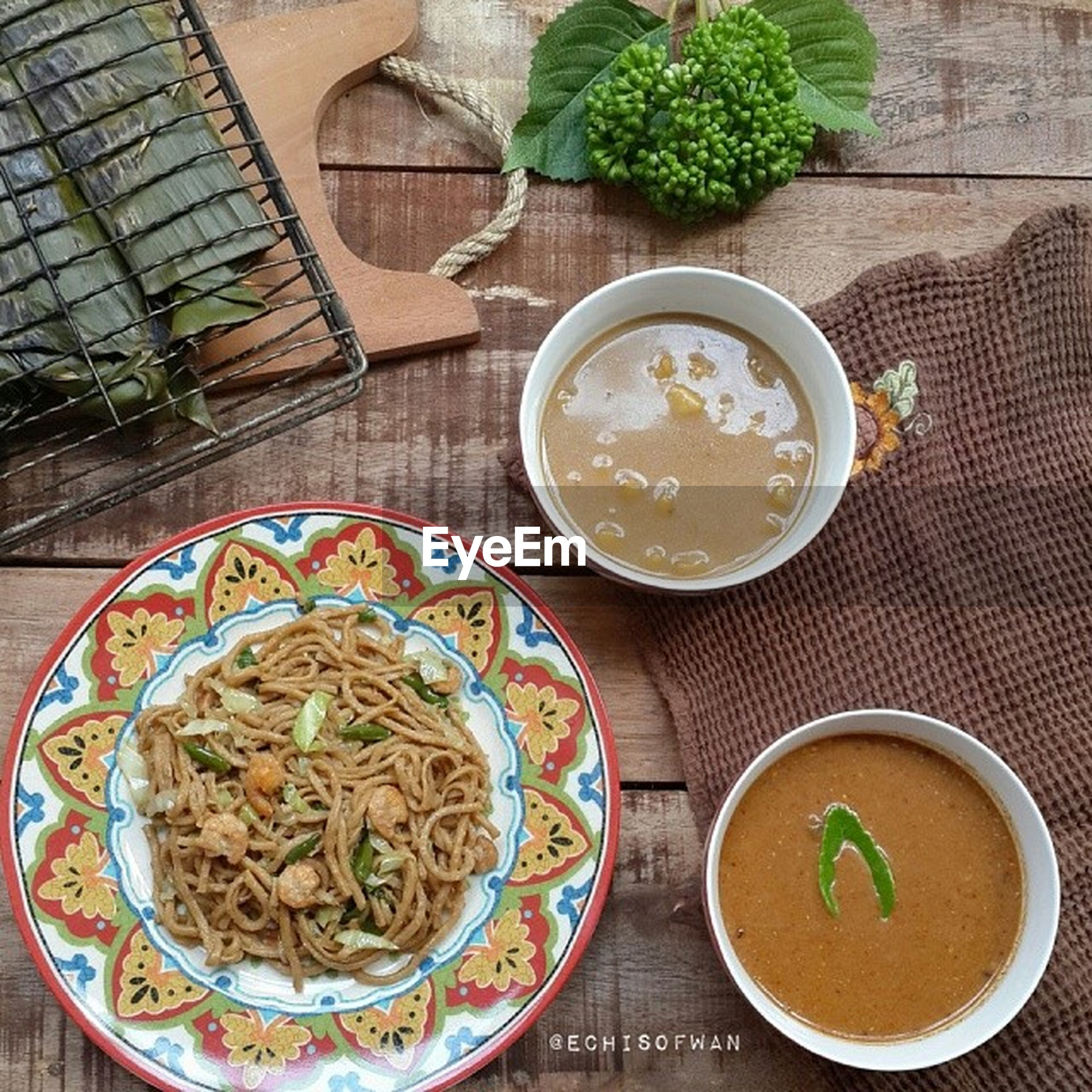 food and drink, indoors, food, plate, table, freshness, high angle view, ready-to-eat, healthy eating, bowl, directly above, still life, spoon, serving size, meal, soup, drink, fork, served, vegetable