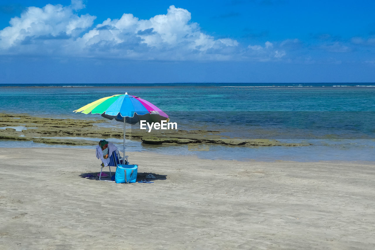 sea, water, beach, sky, land, horizon, horizon over water, beauty in nature, scenics - nature, umbrella, cloud - sky, tranquility, tranquil scene, sand, day, idyllic, nature, blue, parasol, outdoors