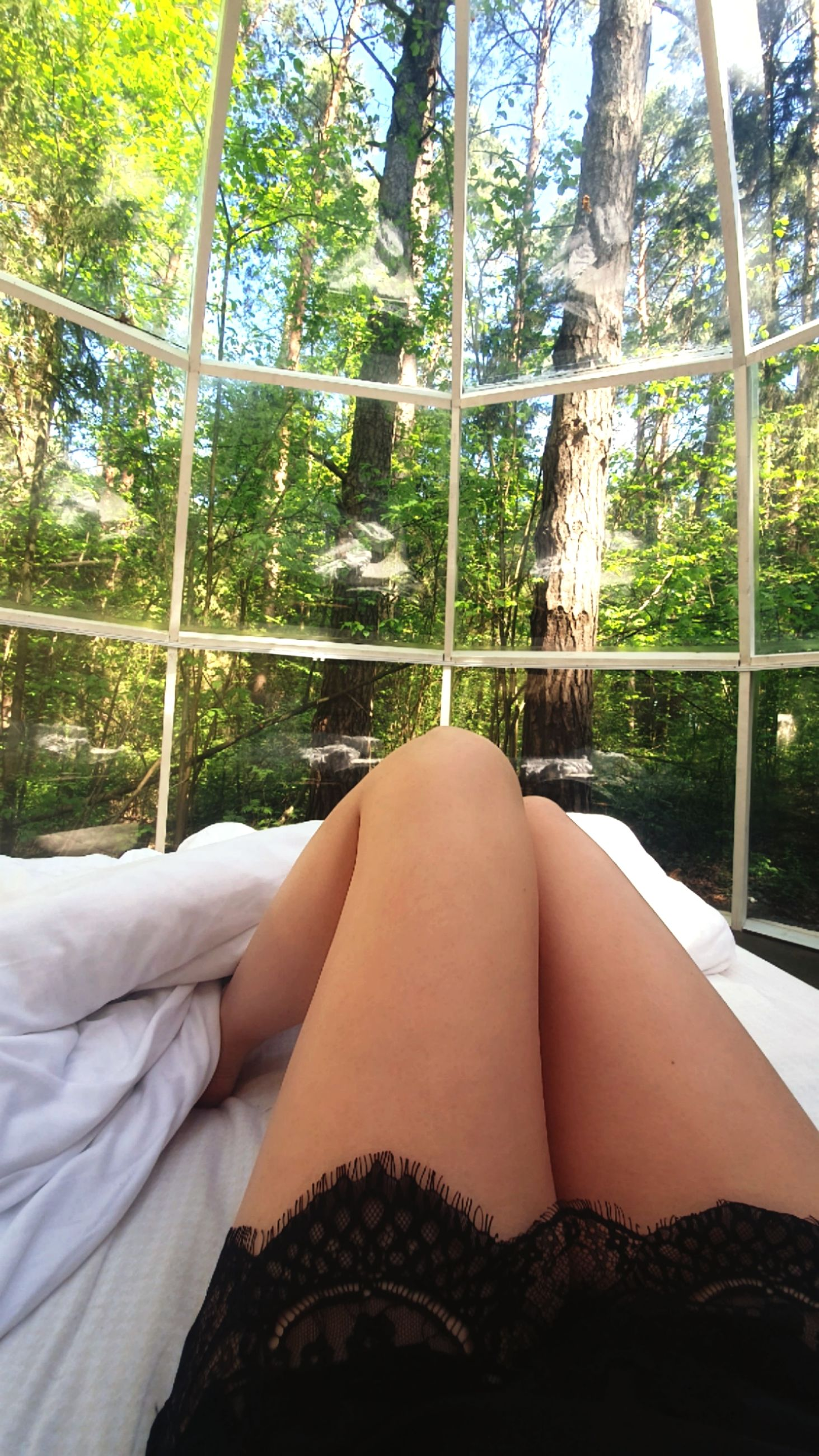 human body part, tree, one person, relaxation, human leg, body part, real people, plant, low section, lifestyles, day, leisure activity, women, adult, young women, furniture, lying down, young adult, limb, outdoors, human limb, human foot
