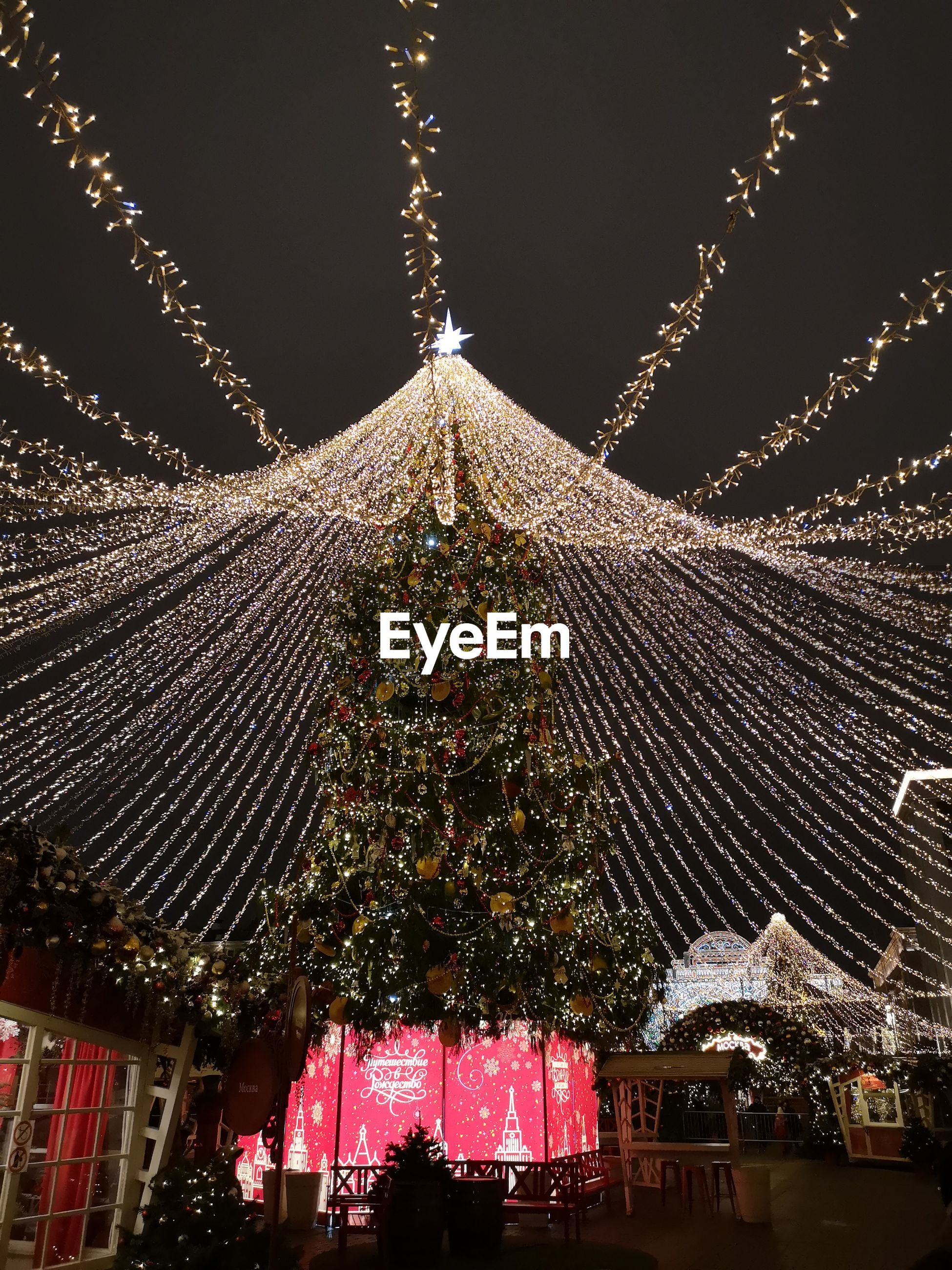 Illuminated christmas tree against sky at night