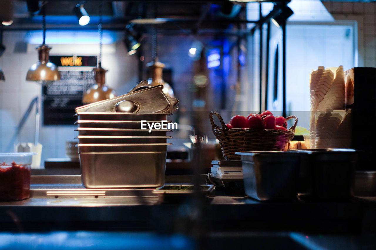 View of kitchen counter in restaurant