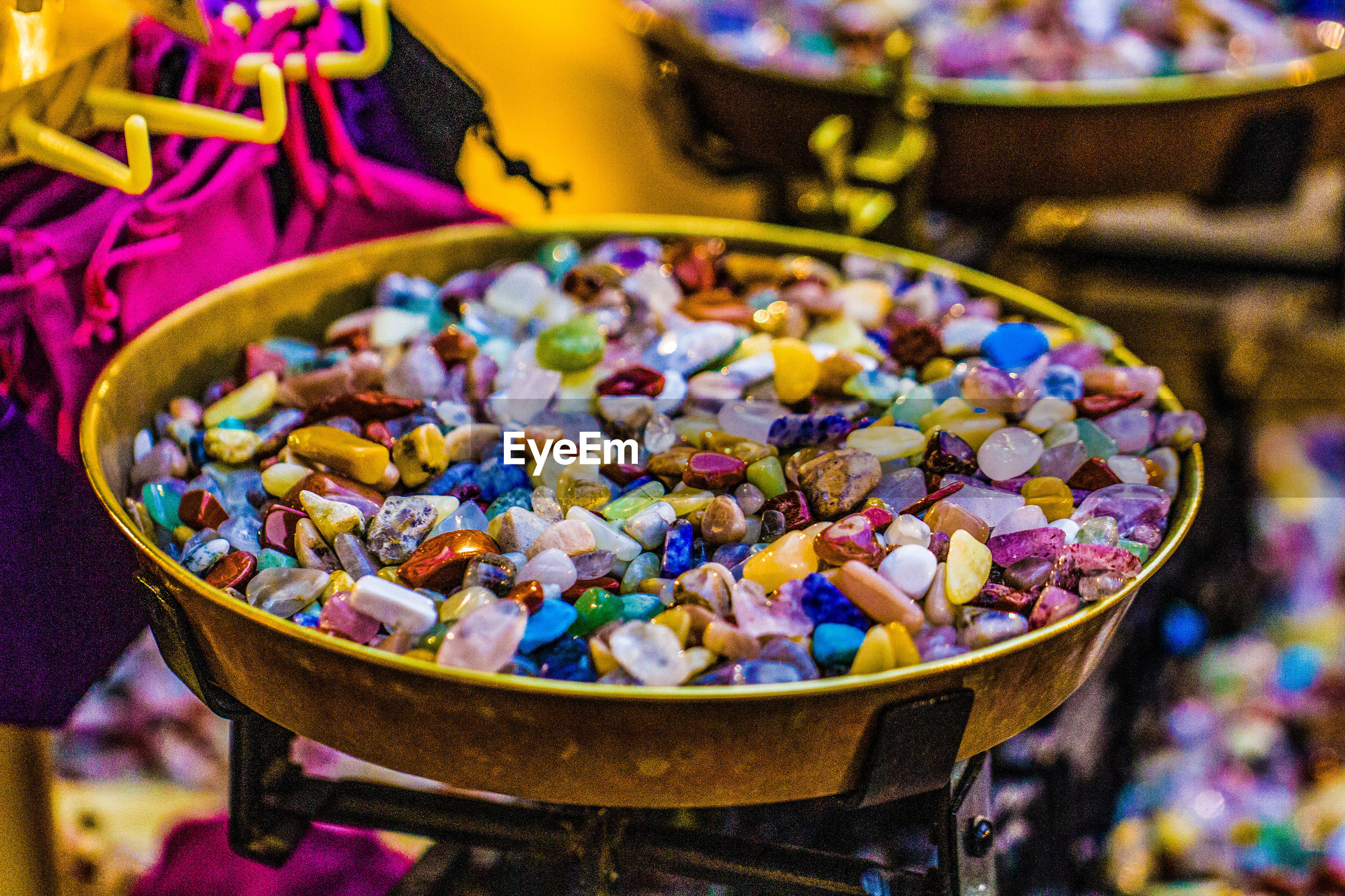 CLOSE-UP OF COLORFUL CANDIES IN BOWL