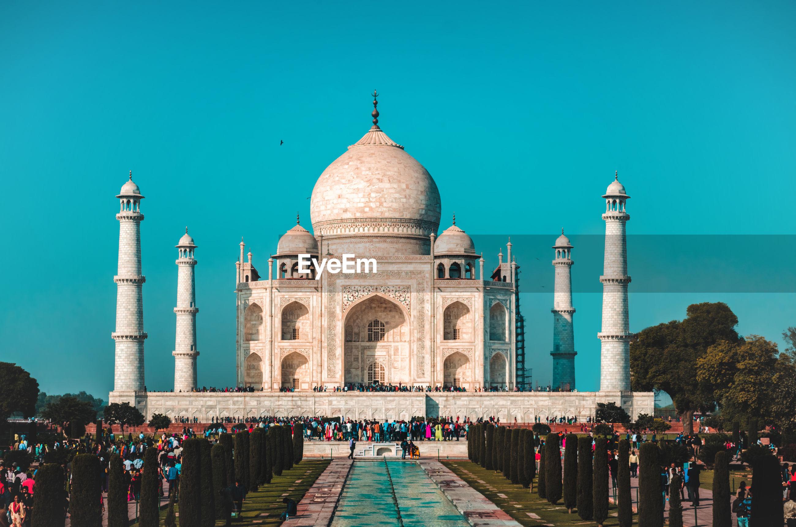 Taj mahal against clear blue sky