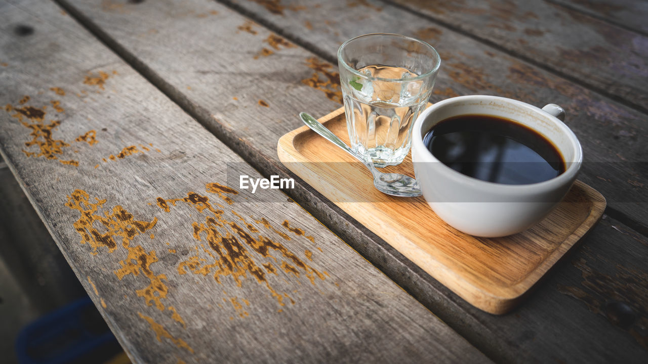 Close-Up Of Tea Cup And Drinking Water On Table