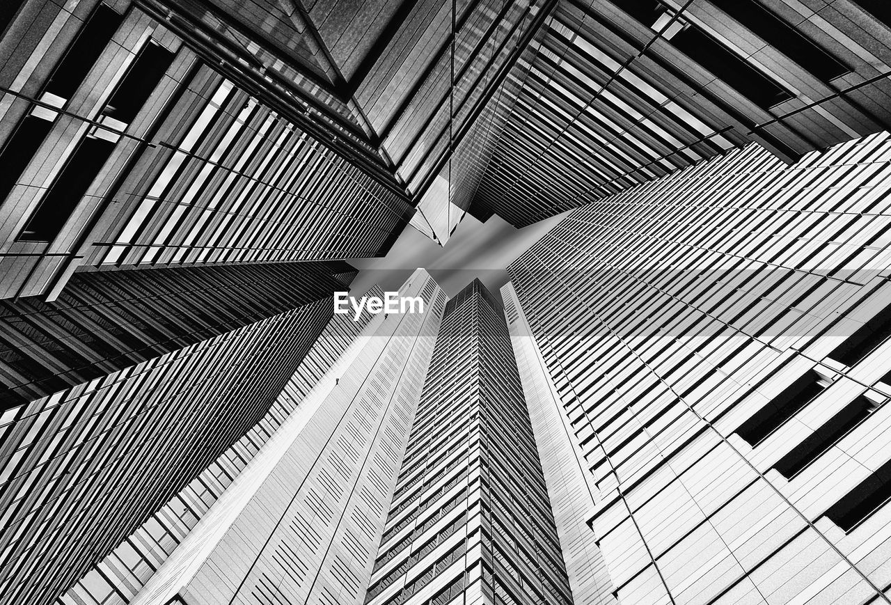 low angle view, modern, indoors, day, architecture, no people, futuristic