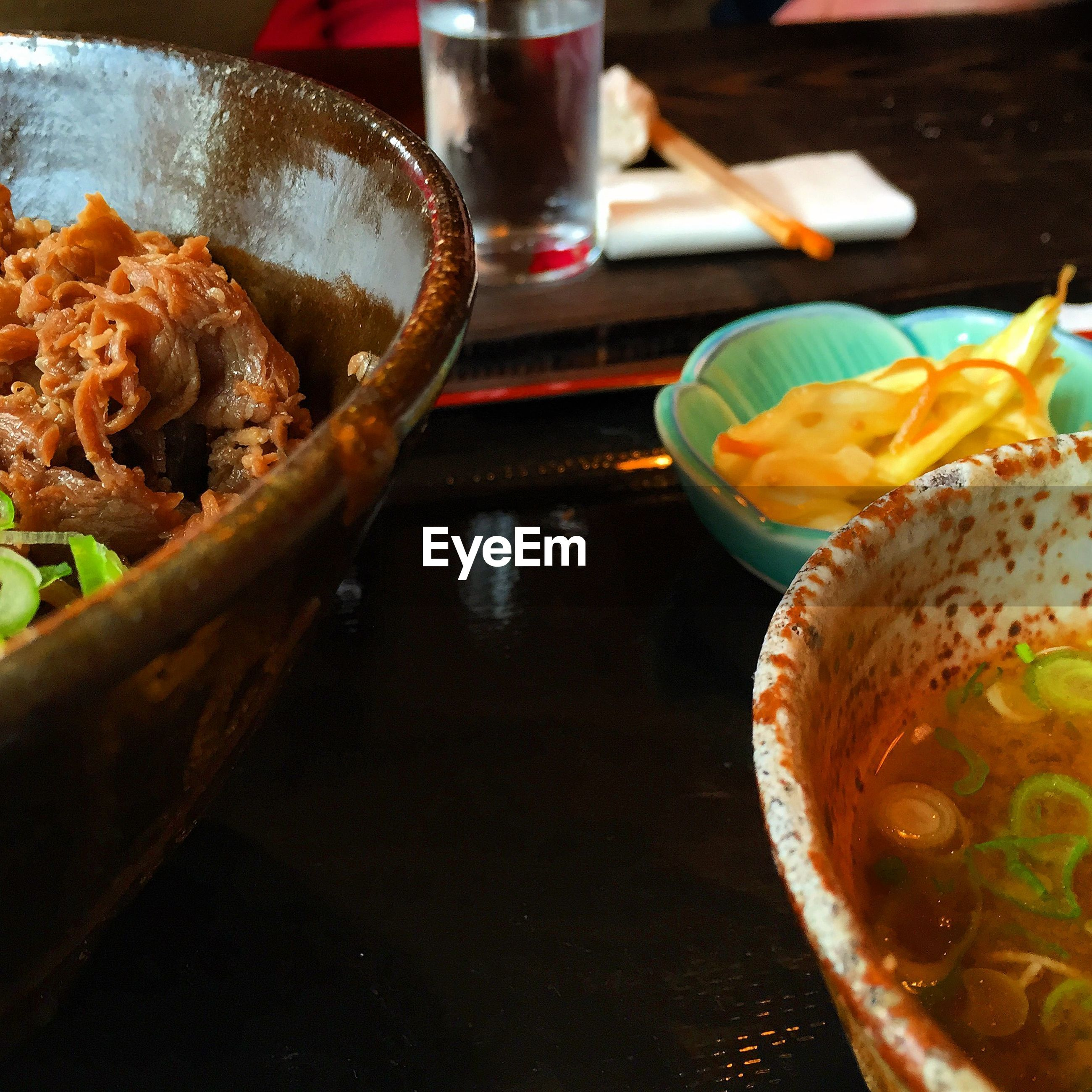 High angle view of ramen served in bowl on table