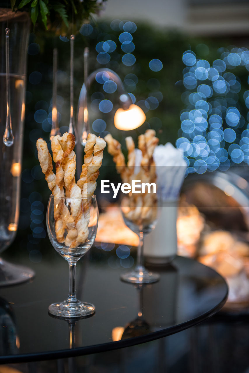 Close-up of food in wineglass
