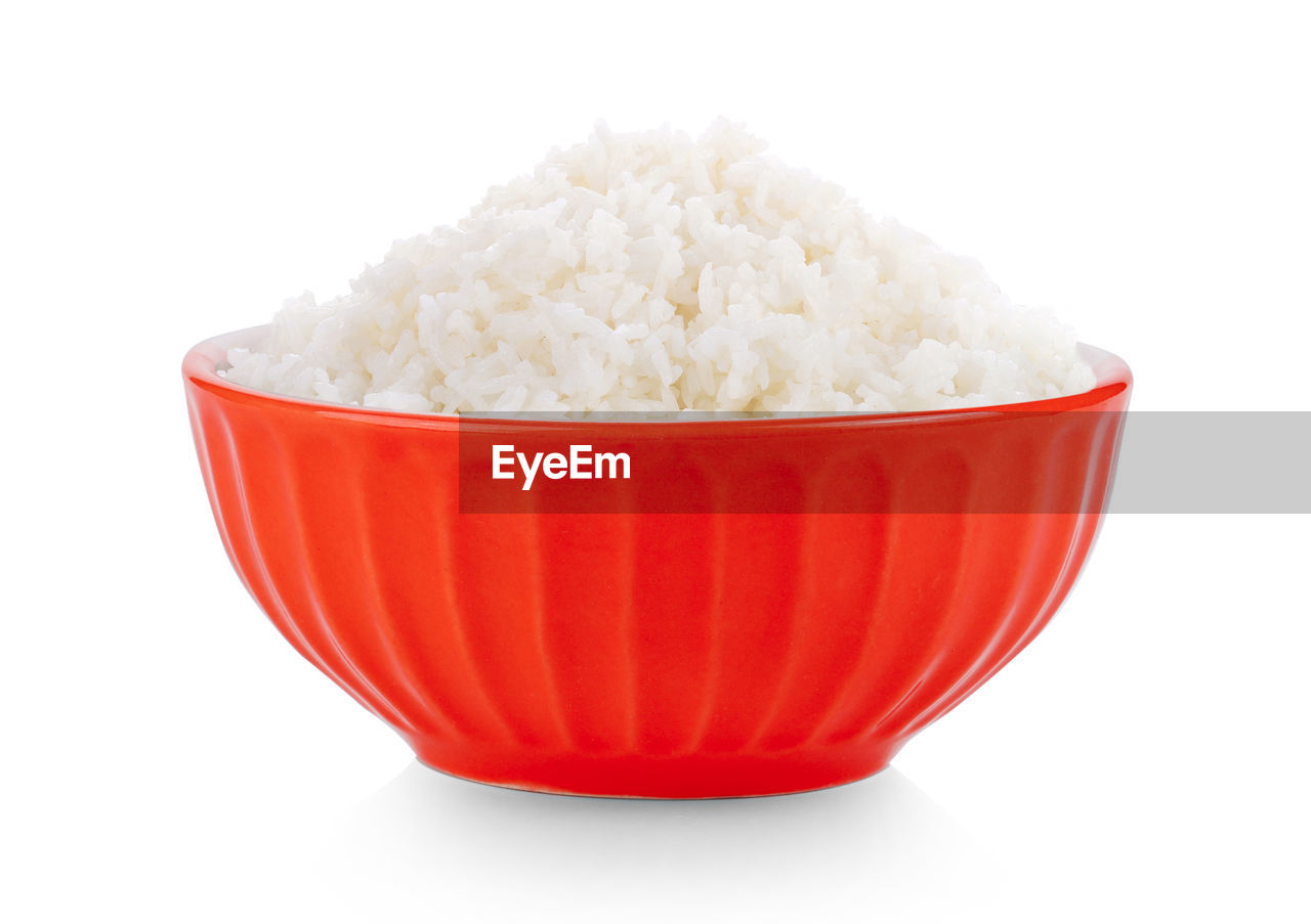white background, studio shot, bowl, still life, red, close-up, indoors, cut out, no people, white color, food and drink, food, freshness, wellbeing, single object, copy space, healthy eating, focus on foreground, container, rice - food staple