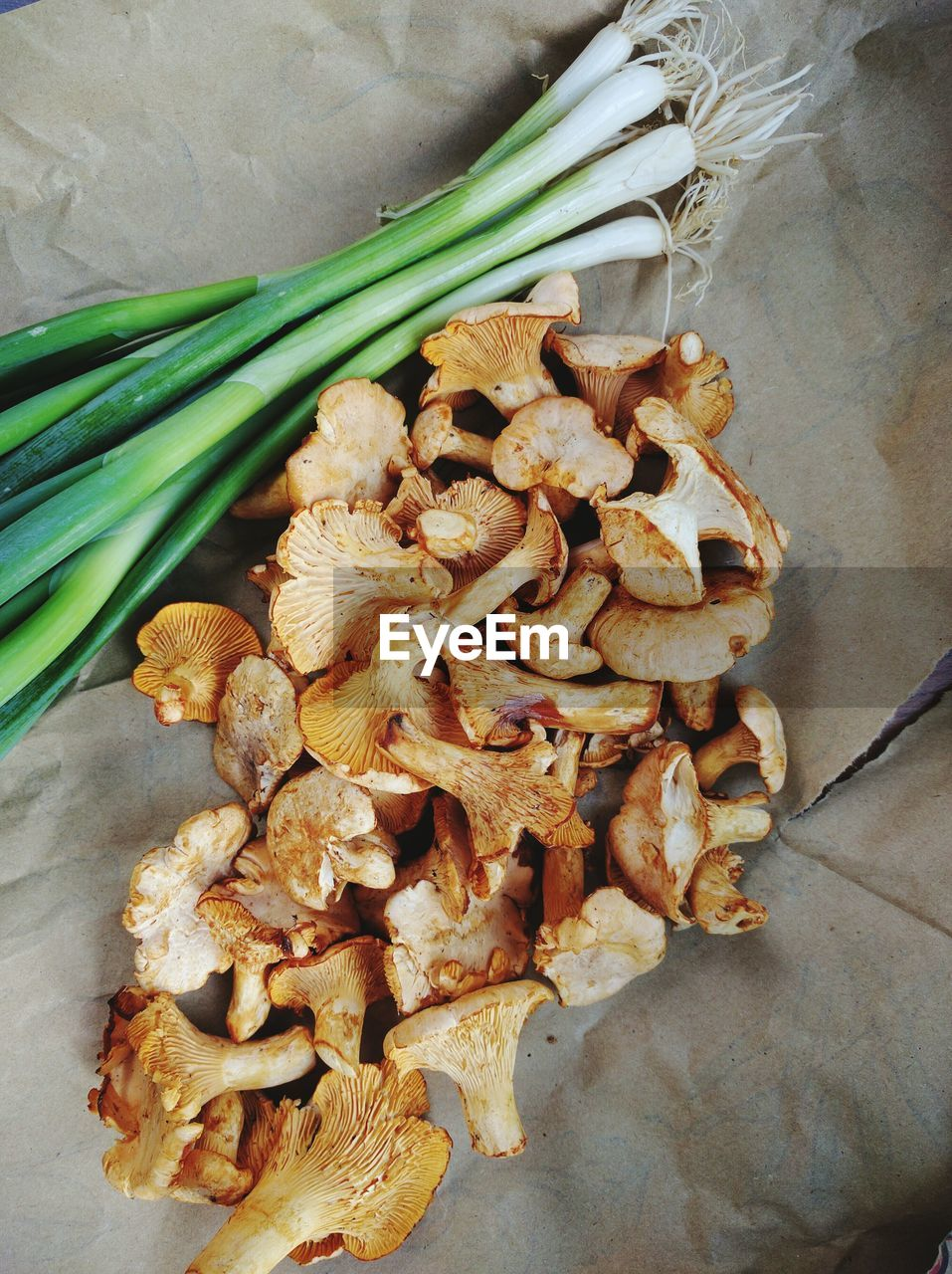High Angle View Of Mushrooms With Scallions On Paper