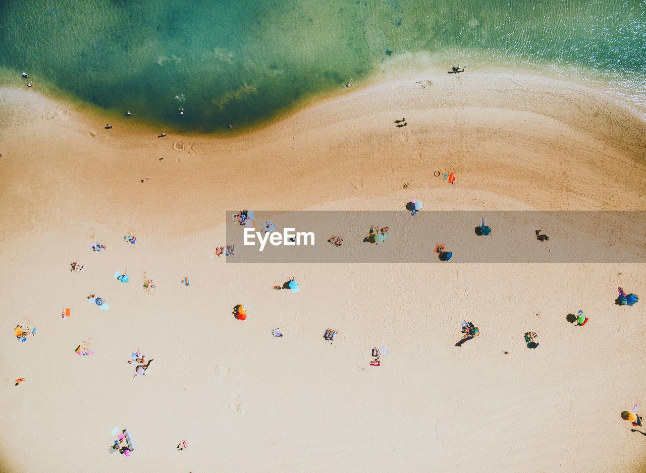 Aerial view of people enjoying at beach