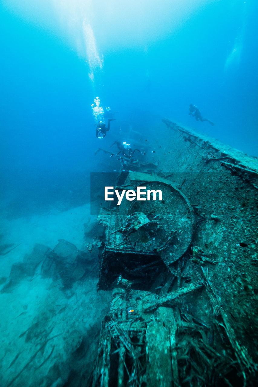 High angle view of shipwreck in sea