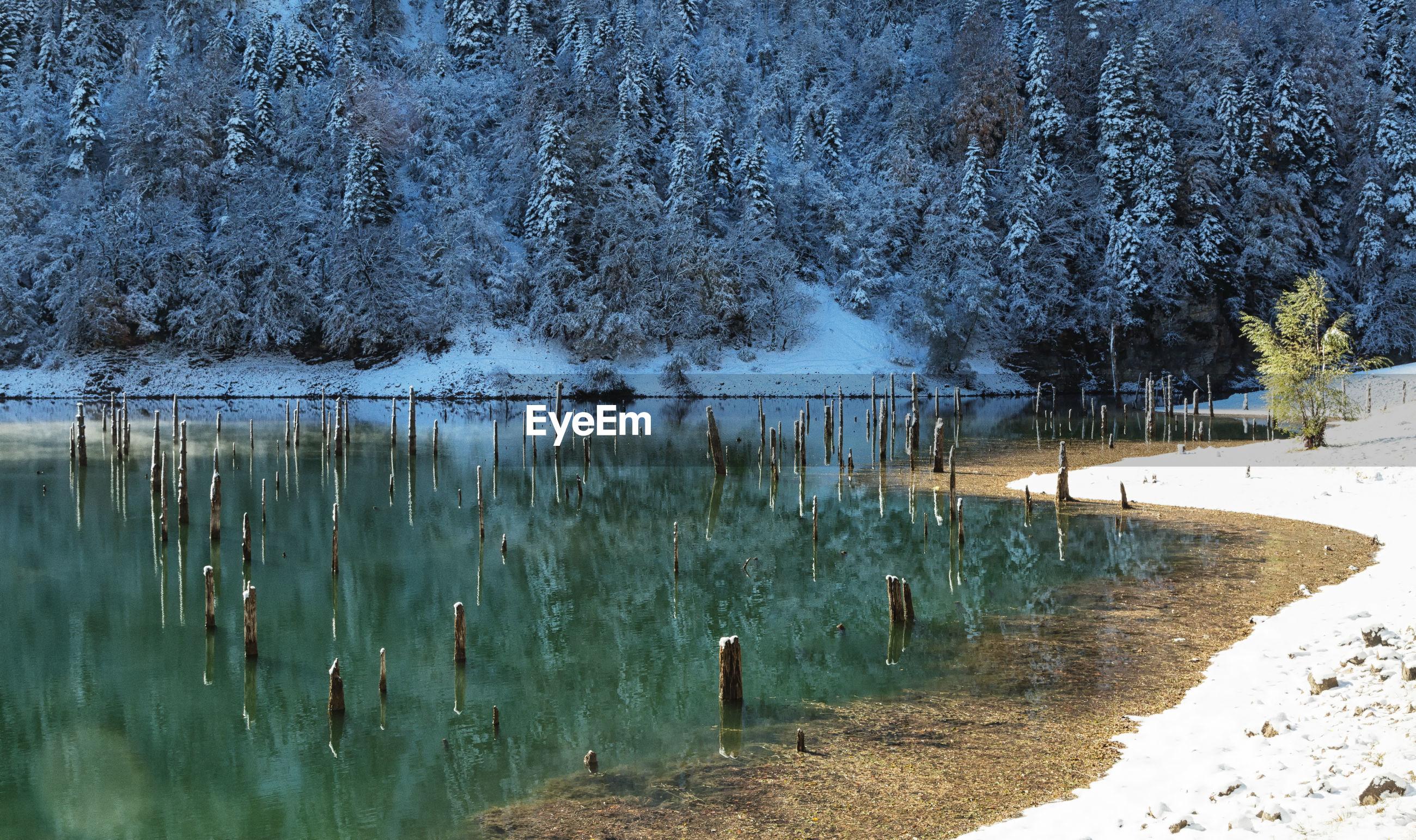 PANORAMIC VIEW OF LAKE IN WINTER