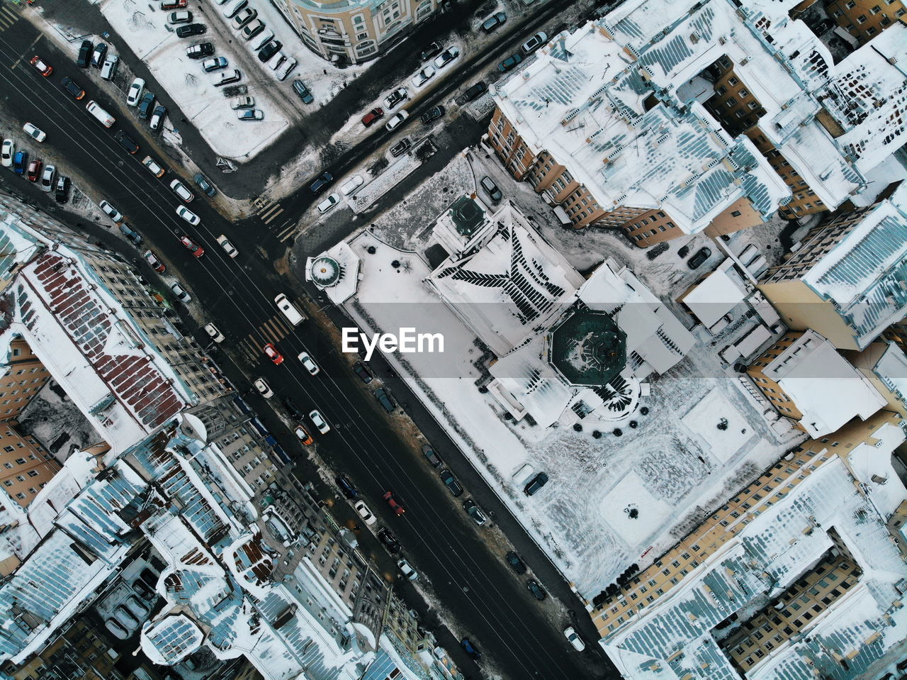 High Angle View Of Buildings During Winter
