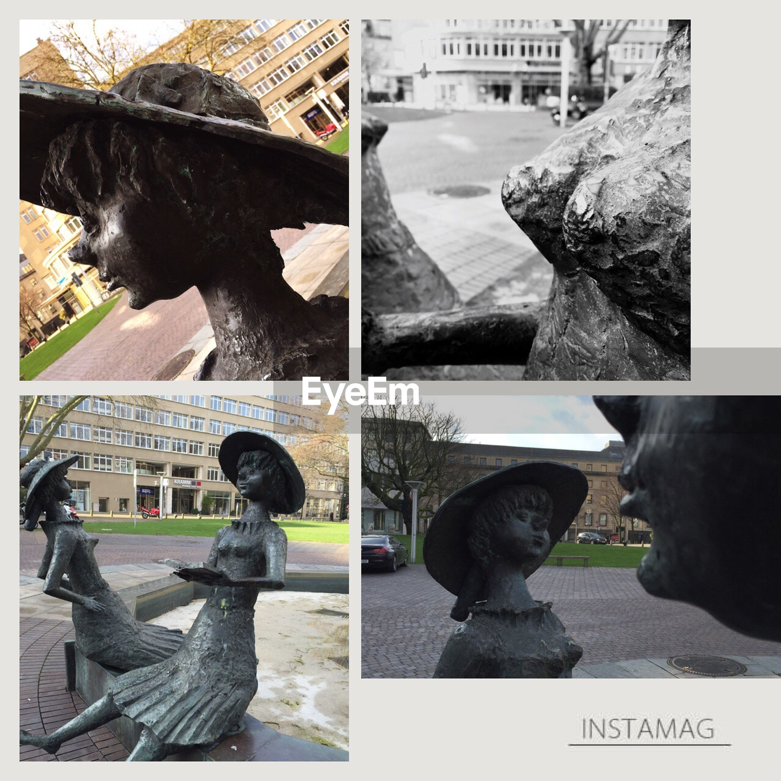 transfer print, auto post production filter, human representation, statue, animal themes, day, high angle view, building exterior, outdoors, built structure, architecture, sculpture, one animal, men, city, sitting, animal representation