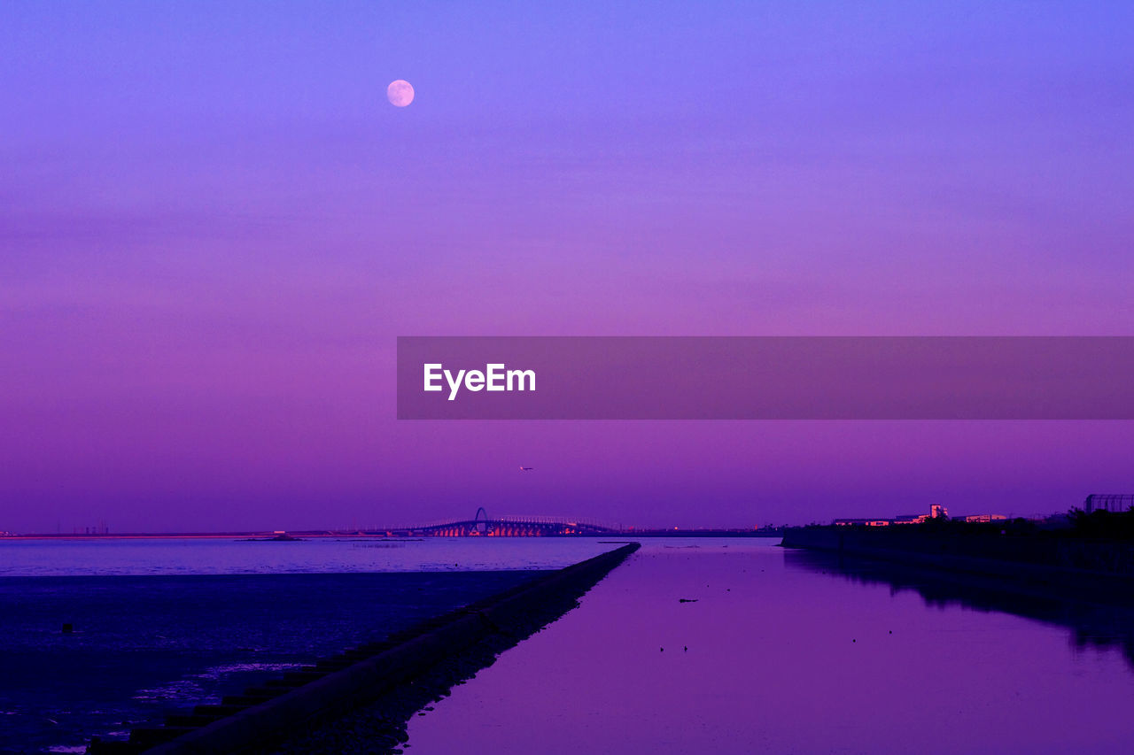 water, nature, beauty in nature, scenics, tranquil scene, sky, tranquility, outdoors, sea, moon, no people, purple, sunset, nautical vessel, day