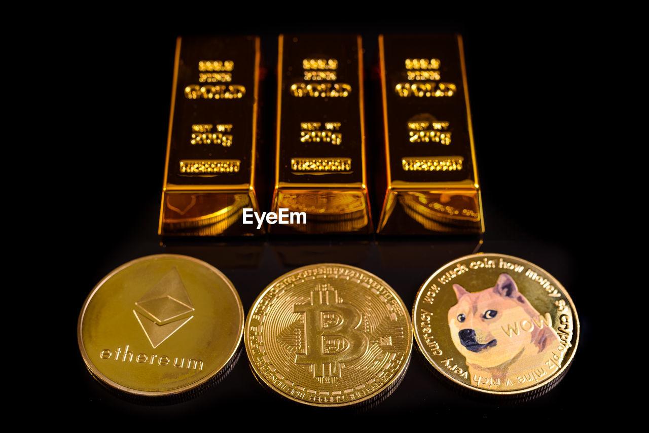 HIGH ANGLE VIEW OF COINS ON SHELF