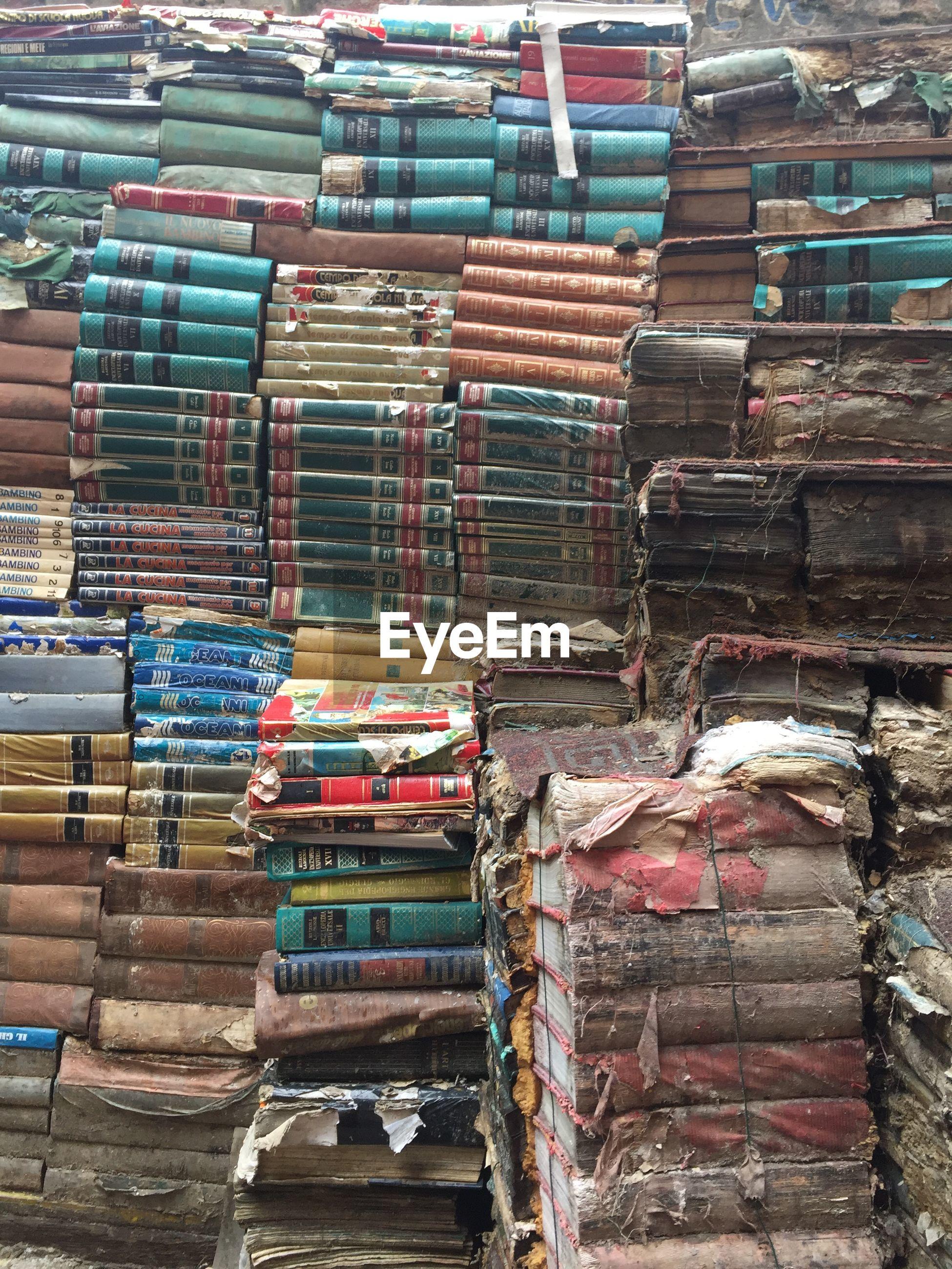 Full frame shot of stacked books for sale